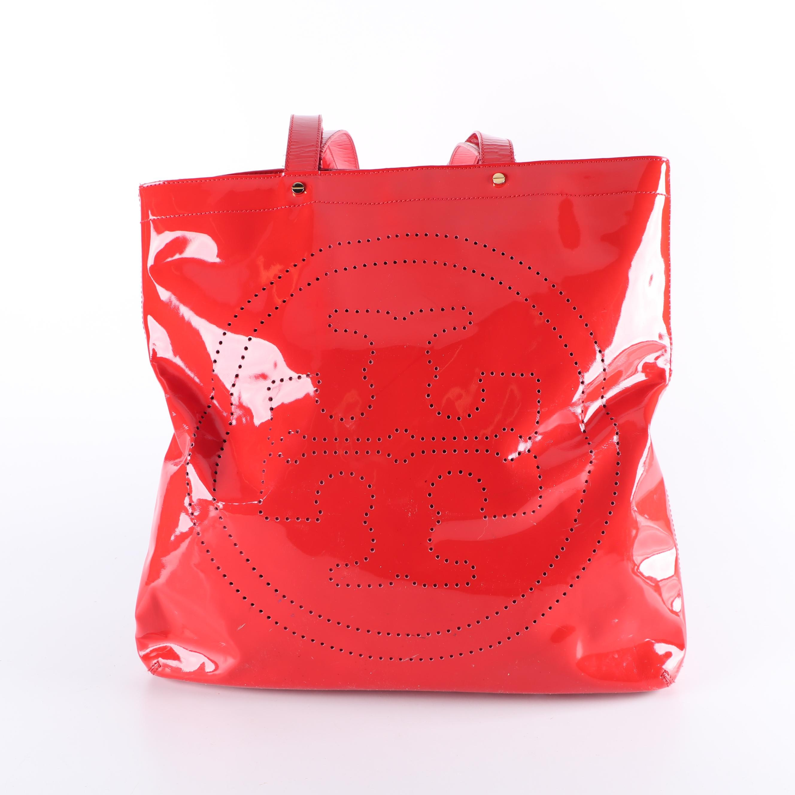 Tory Burch Red Perforated Patent Leather Logo Tote Bag