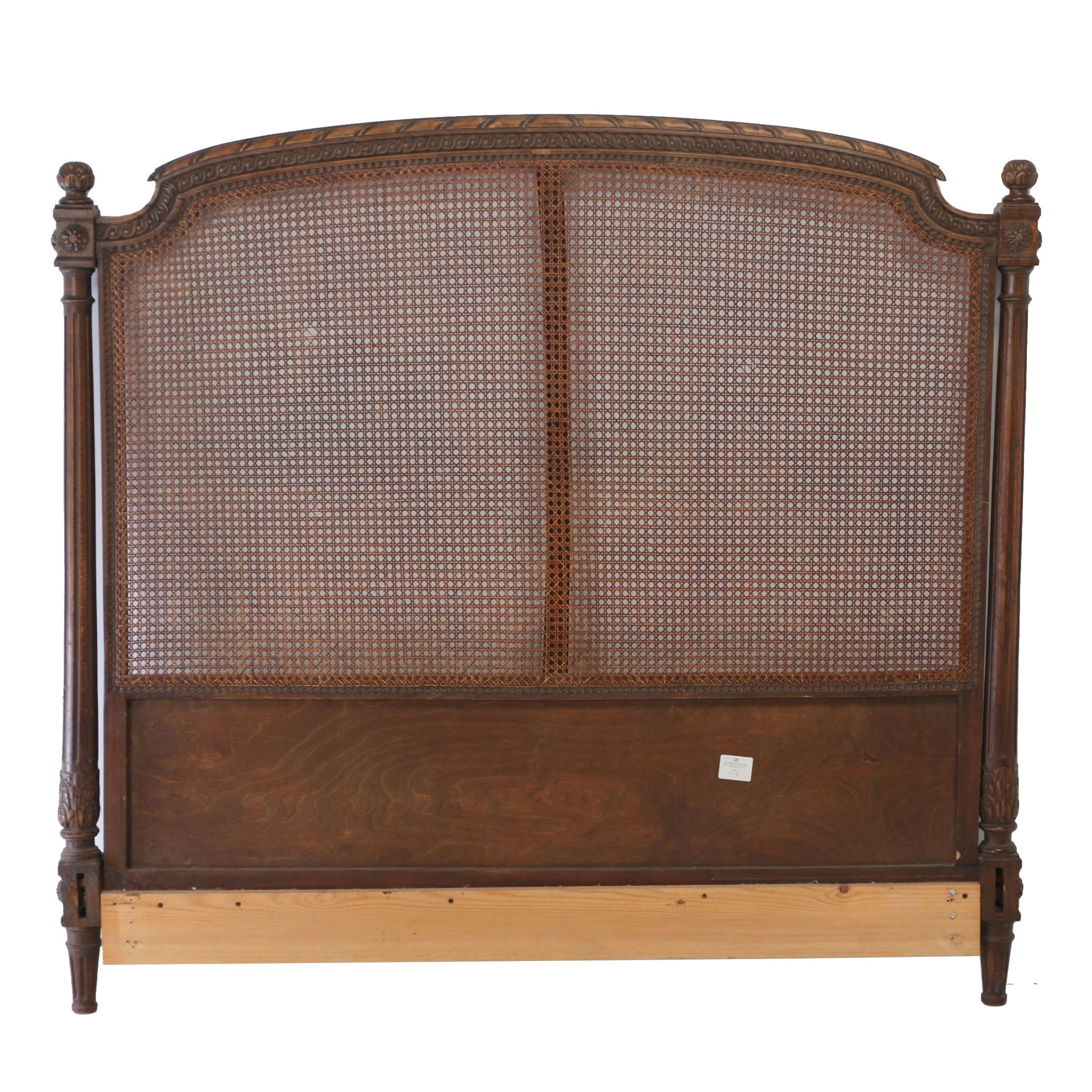 Louis XVI Style Beech and Caned Full Size Headboard, Early 20th Century