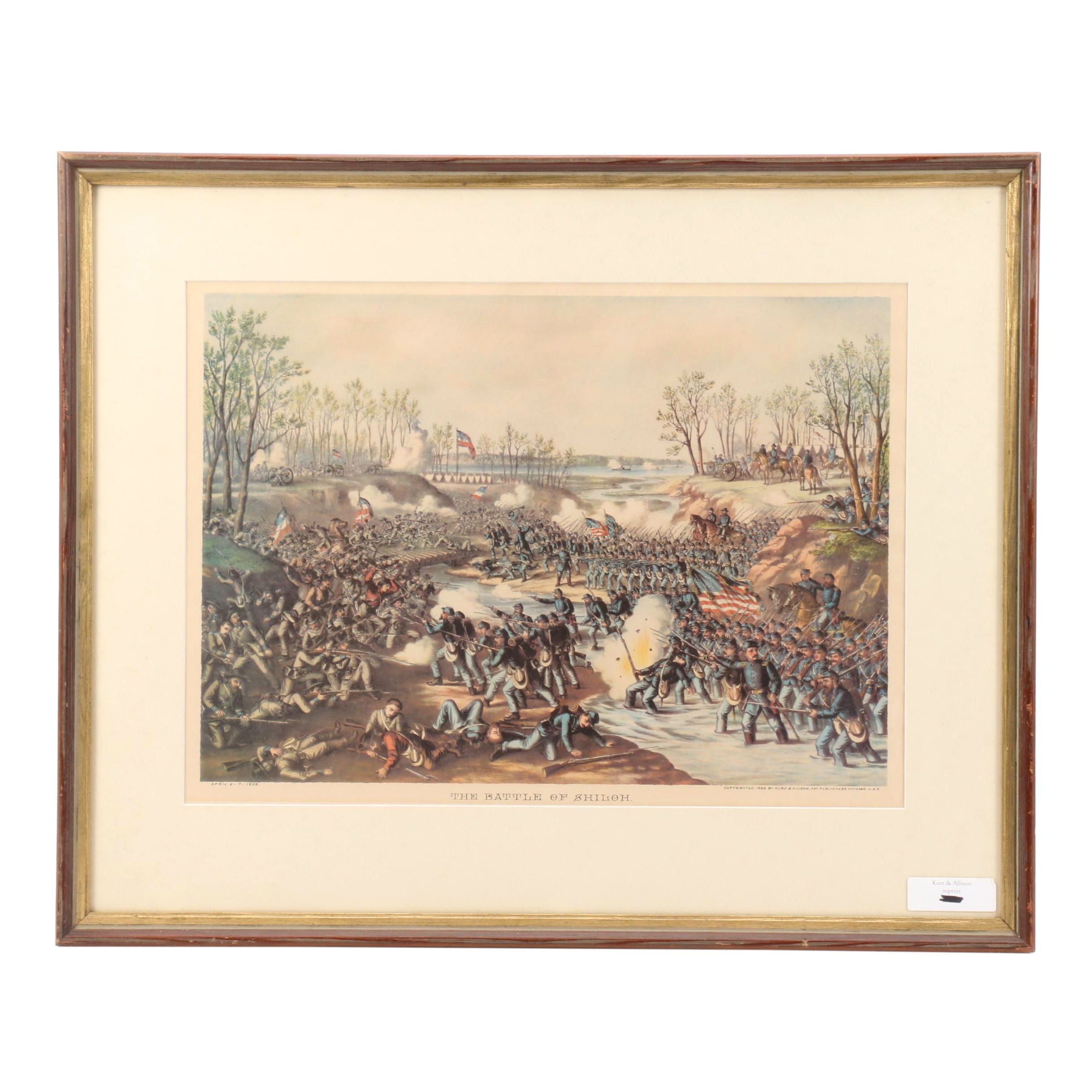 "Offset Lithographic Reproduction after Kurz & Allison ""The Battle of Shiloh"""