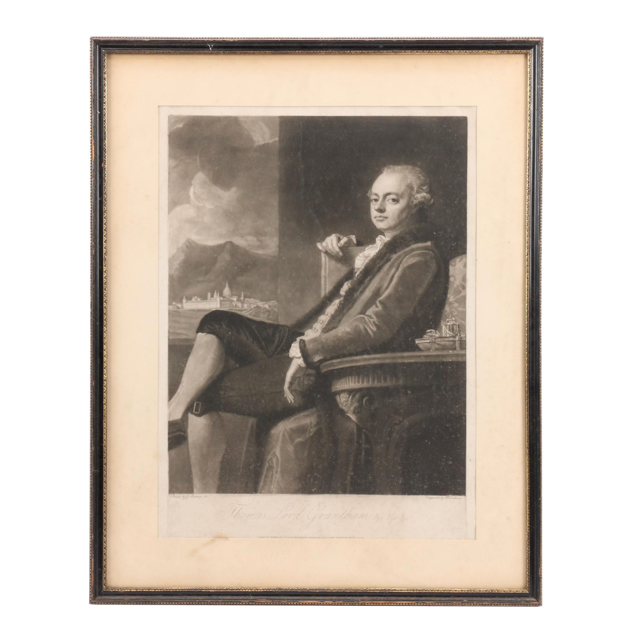 "William Dickinson 1783 Mezzotint after George Romney ""Thomas Lord Grantham"""
