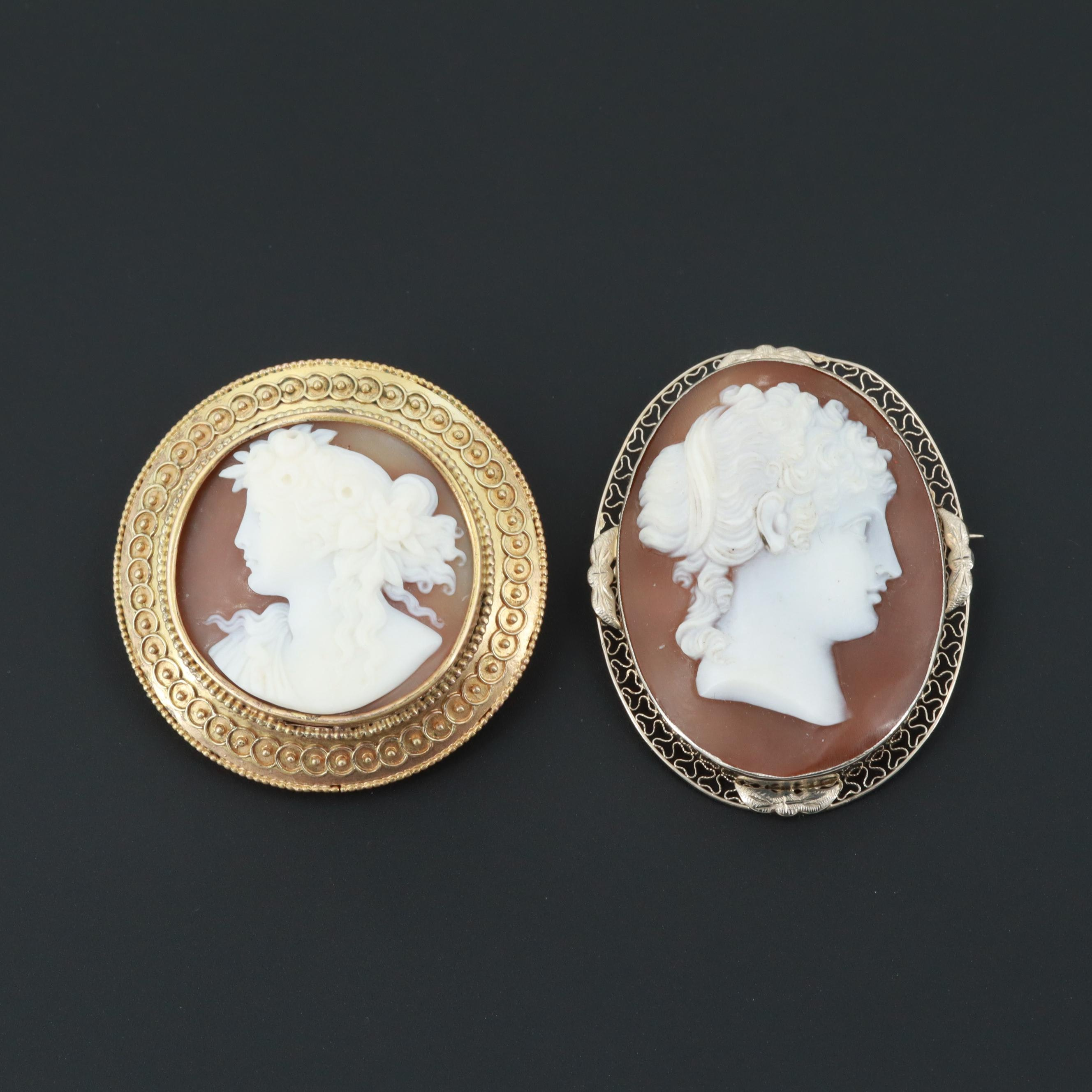 Vintage and Tuscan Revival 14K Yellow Gold Helmet Shell Cameo Brooches
