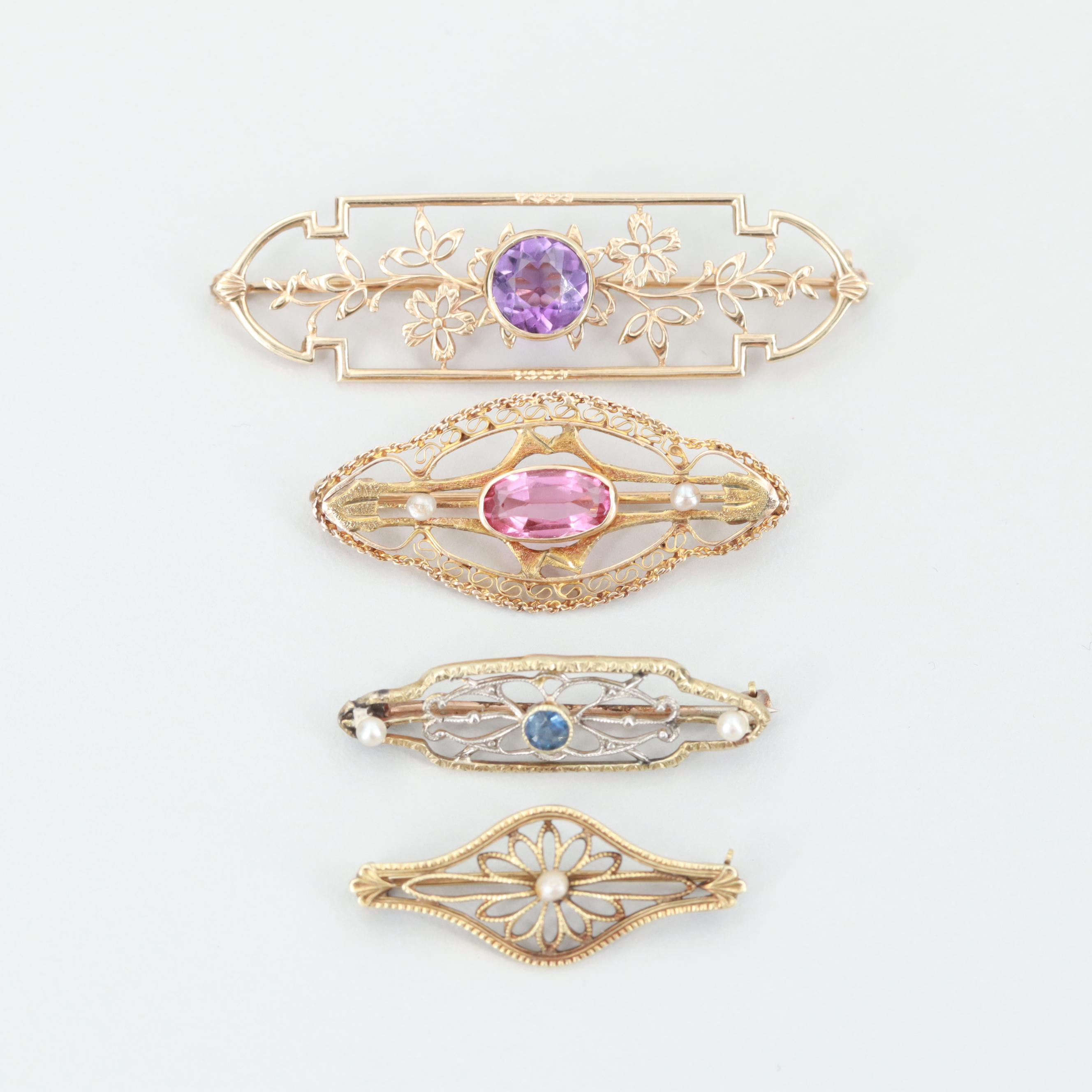 Four Vintage 10K and 14K Yellow Gold Amethyst and Gemstone Brooches