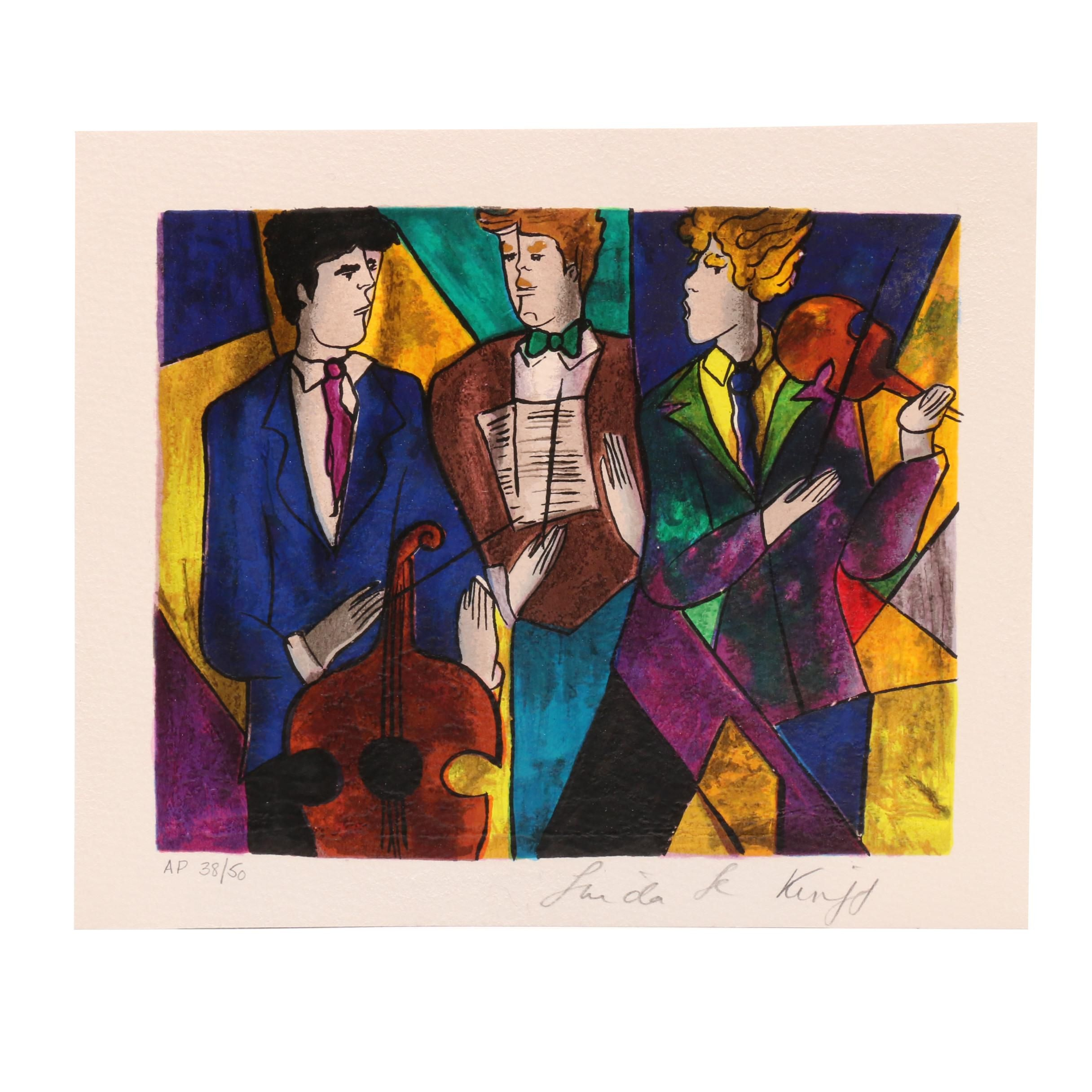 """Linda Le Kinff Limited Edition Artist Proof Serigraph """"Trio"""""""