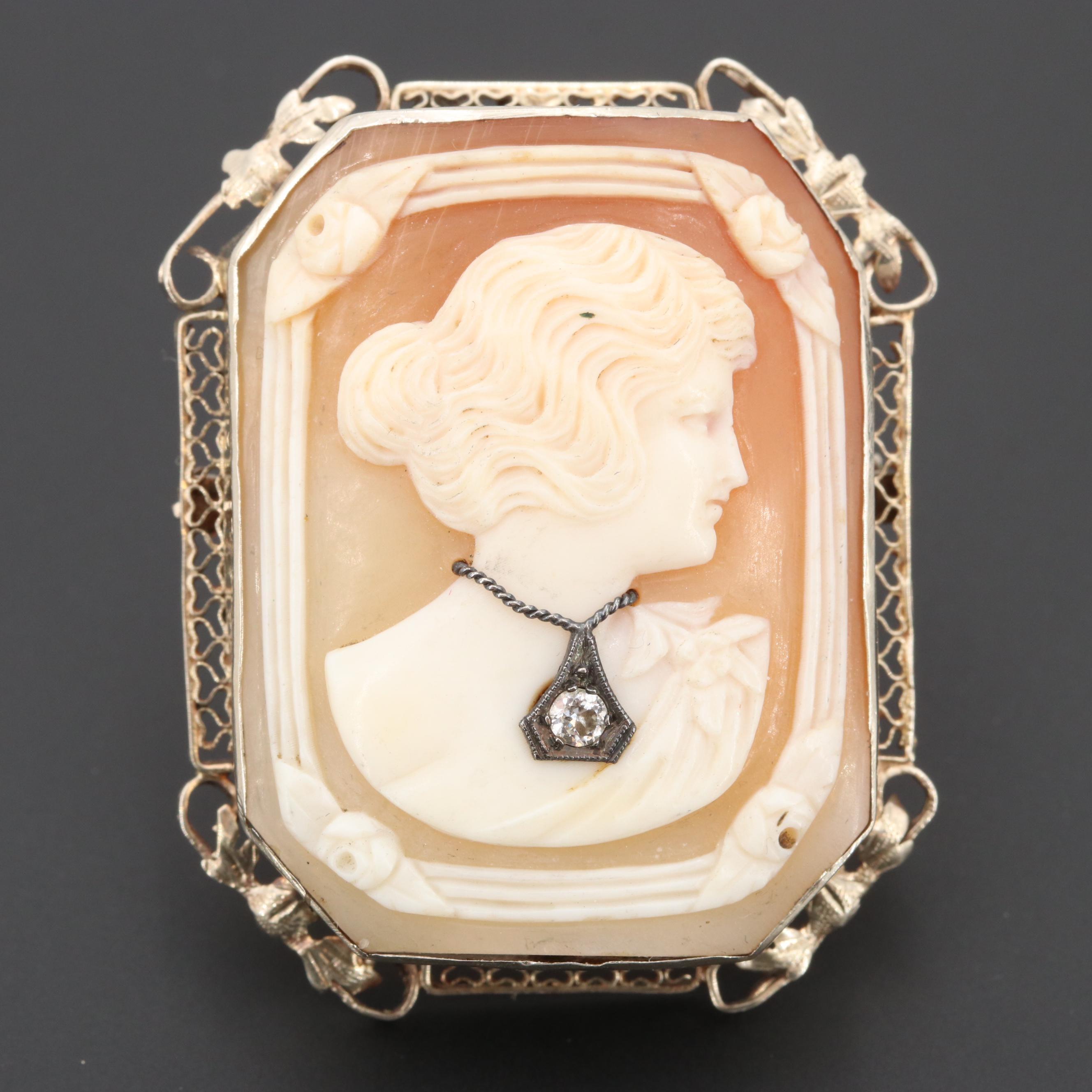 Circa 1930s 14K Gold Diamond and Helmet Shell Habillé Cameo Converter Brooch