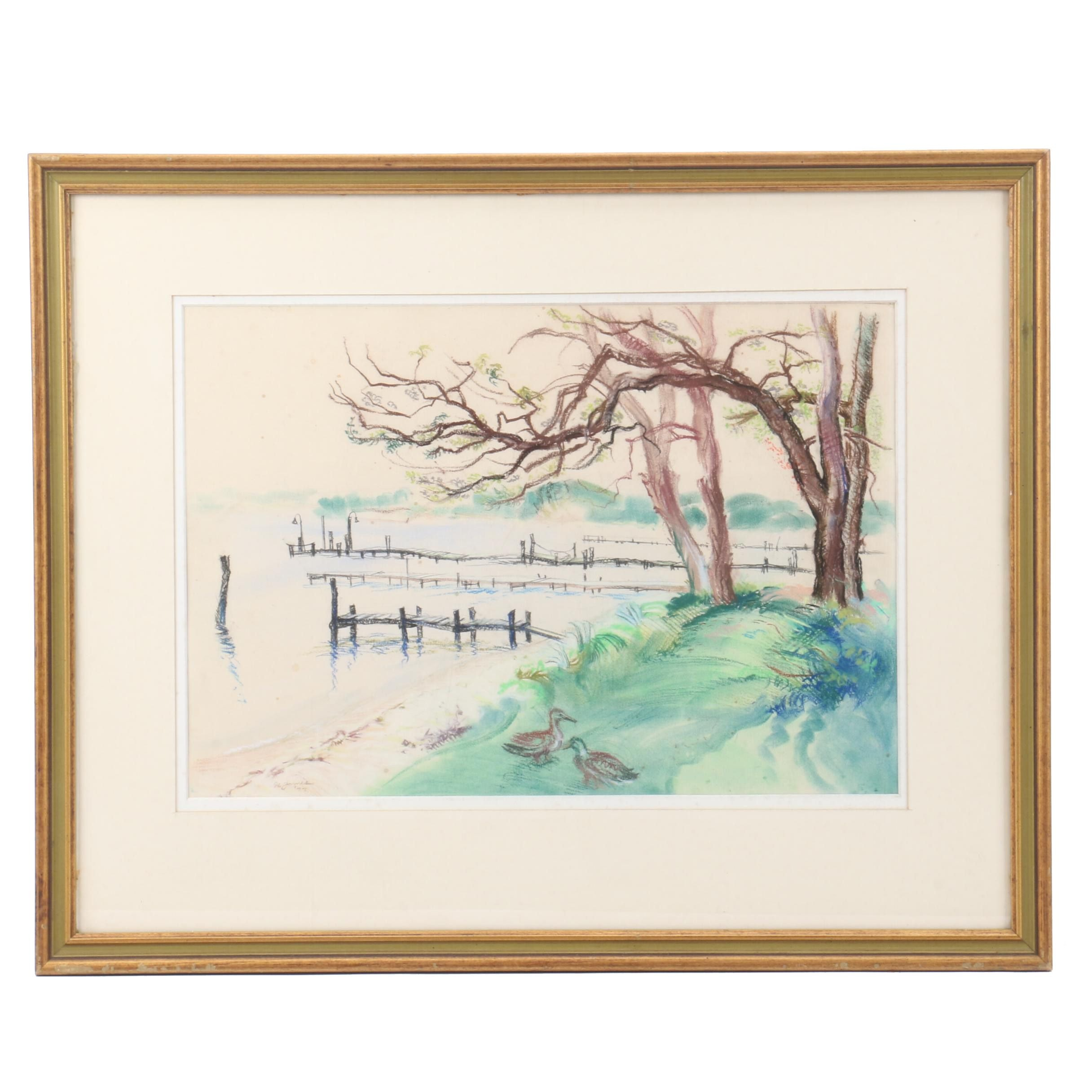 H. James 1977 Pastel Drawing of Coastal Scene with Wooden Docks