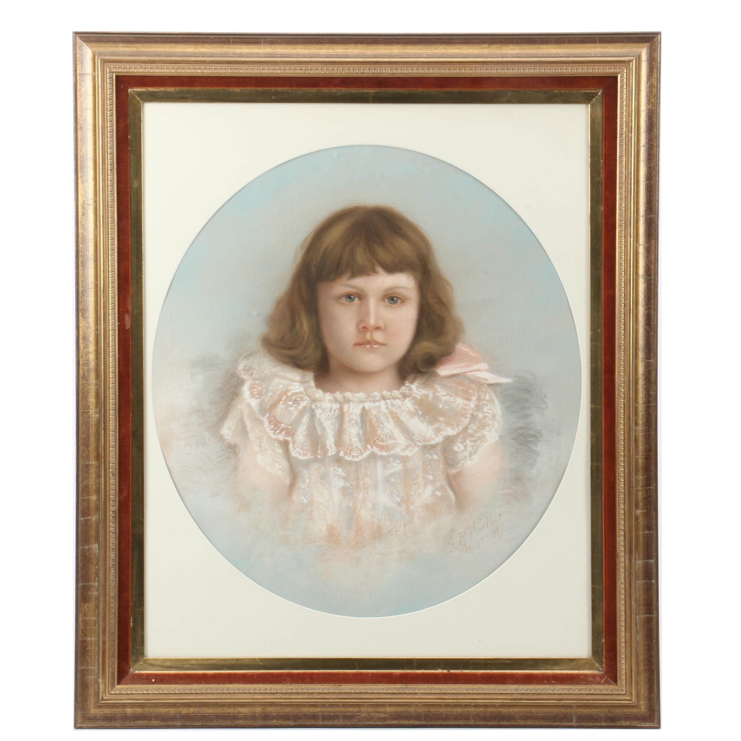 """G.R. Hurlbut Pastel Portrait Drawing """"Grace Parker Doyle, Age Four"""""""
