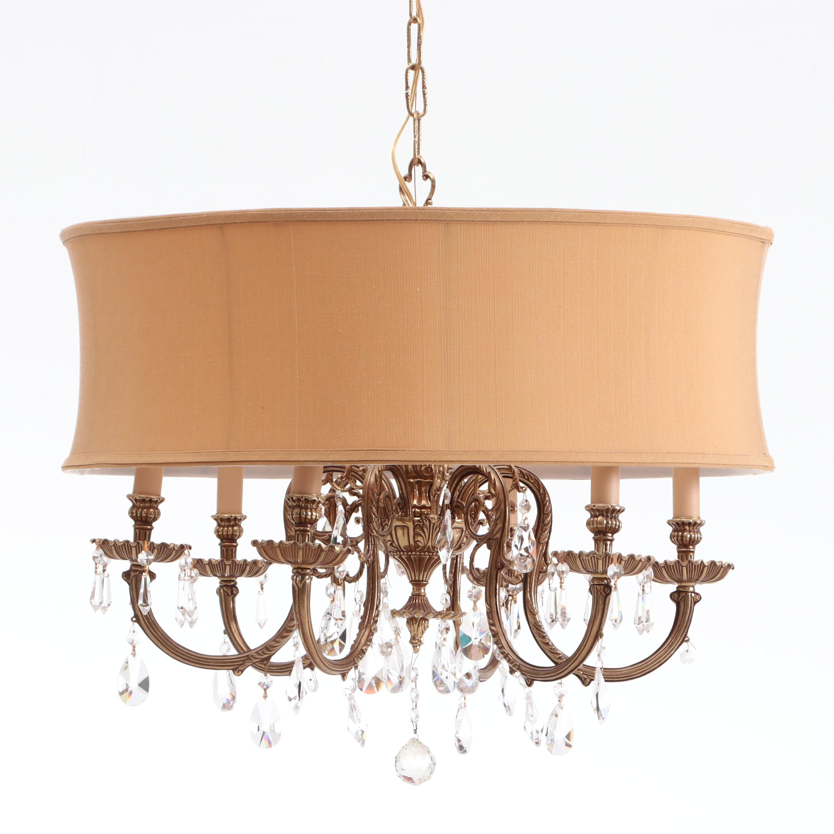 Tov Six-Light Gold Tone Metal Chandelier with Crystal Prisms and Drum Shade