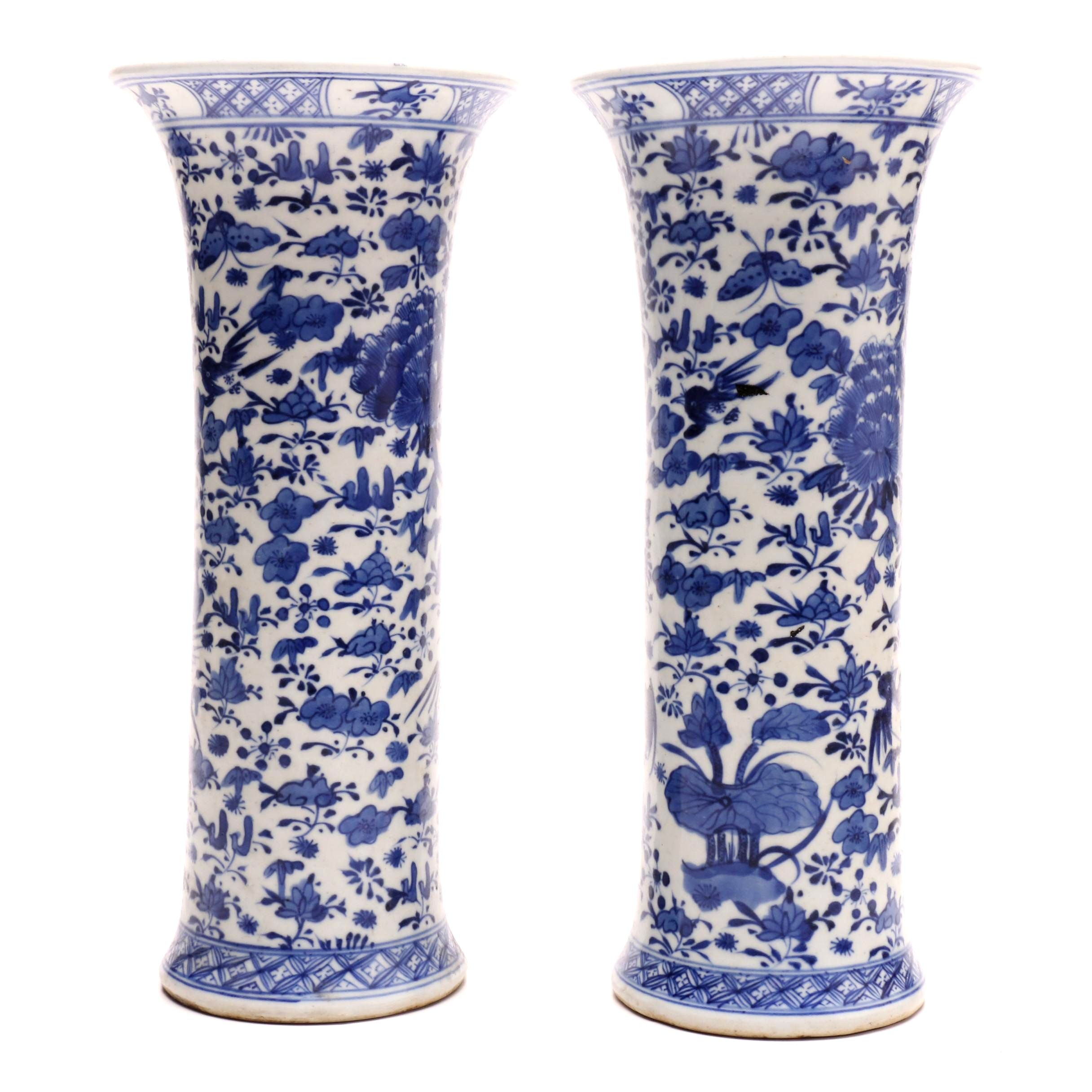 Early 20th-Century Chinese Blue and White Porcelain Vases