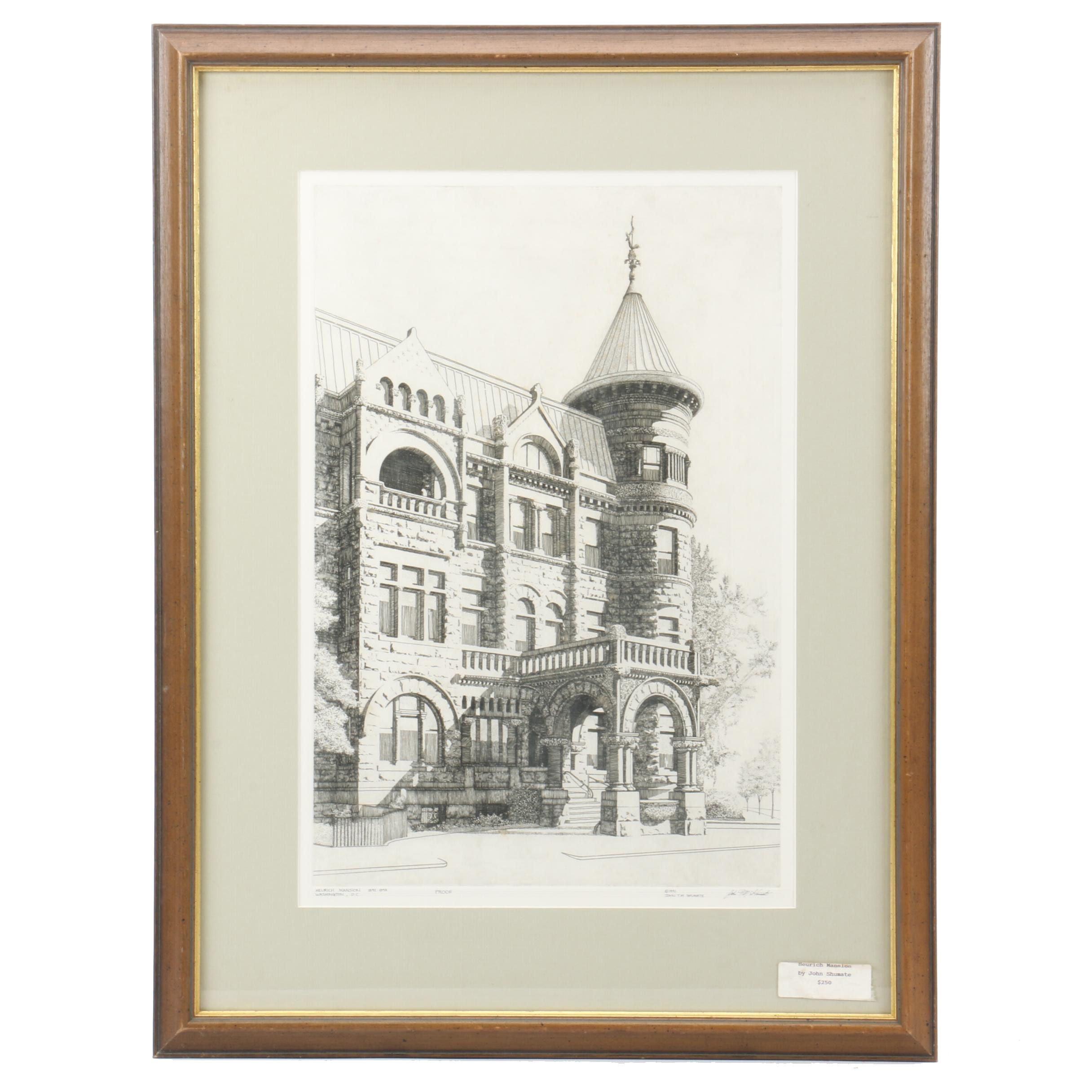 "John Shumate Artist Proof Etching ""Heurich Mansion"""