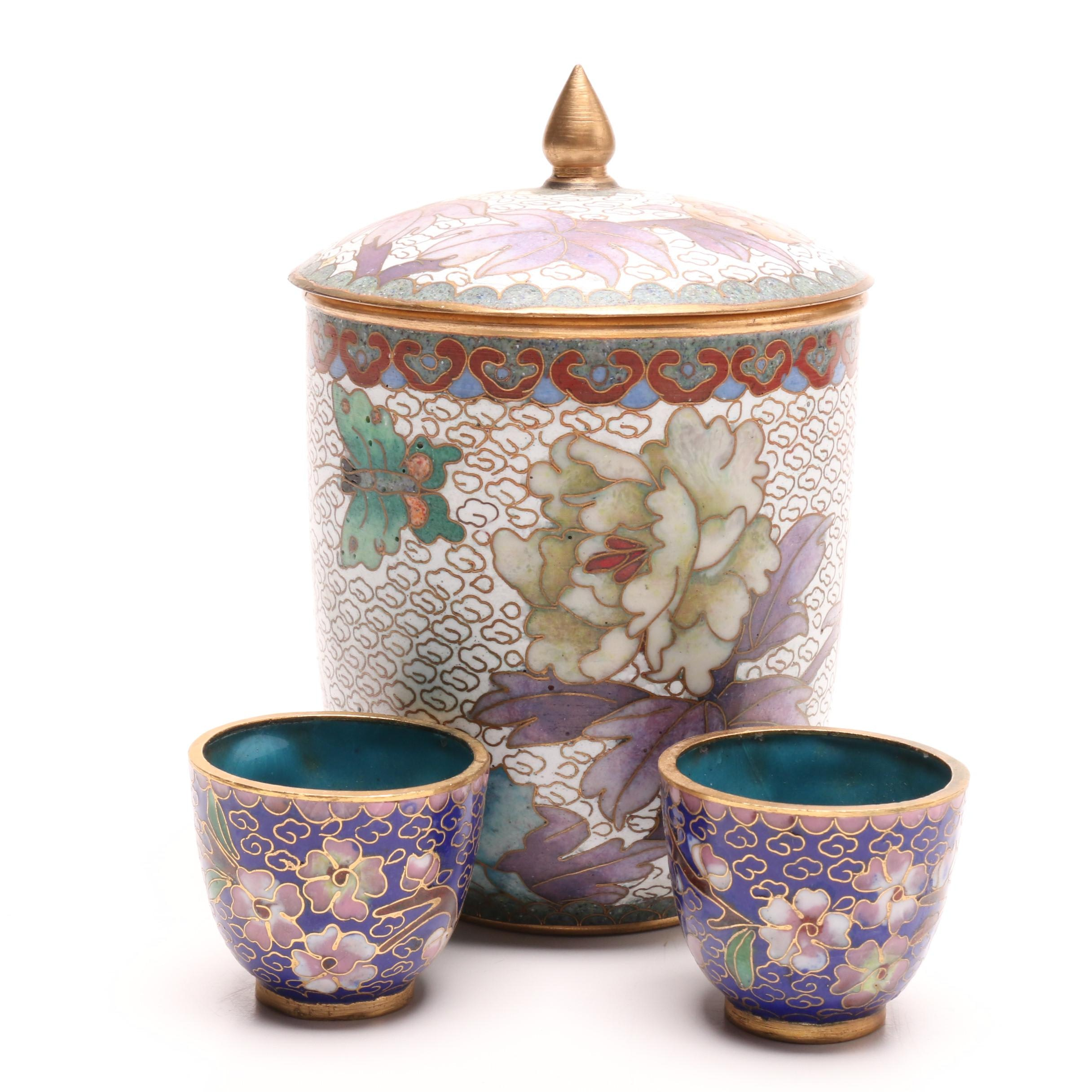 Chinese Cloisonné Lidded Jar and Cups