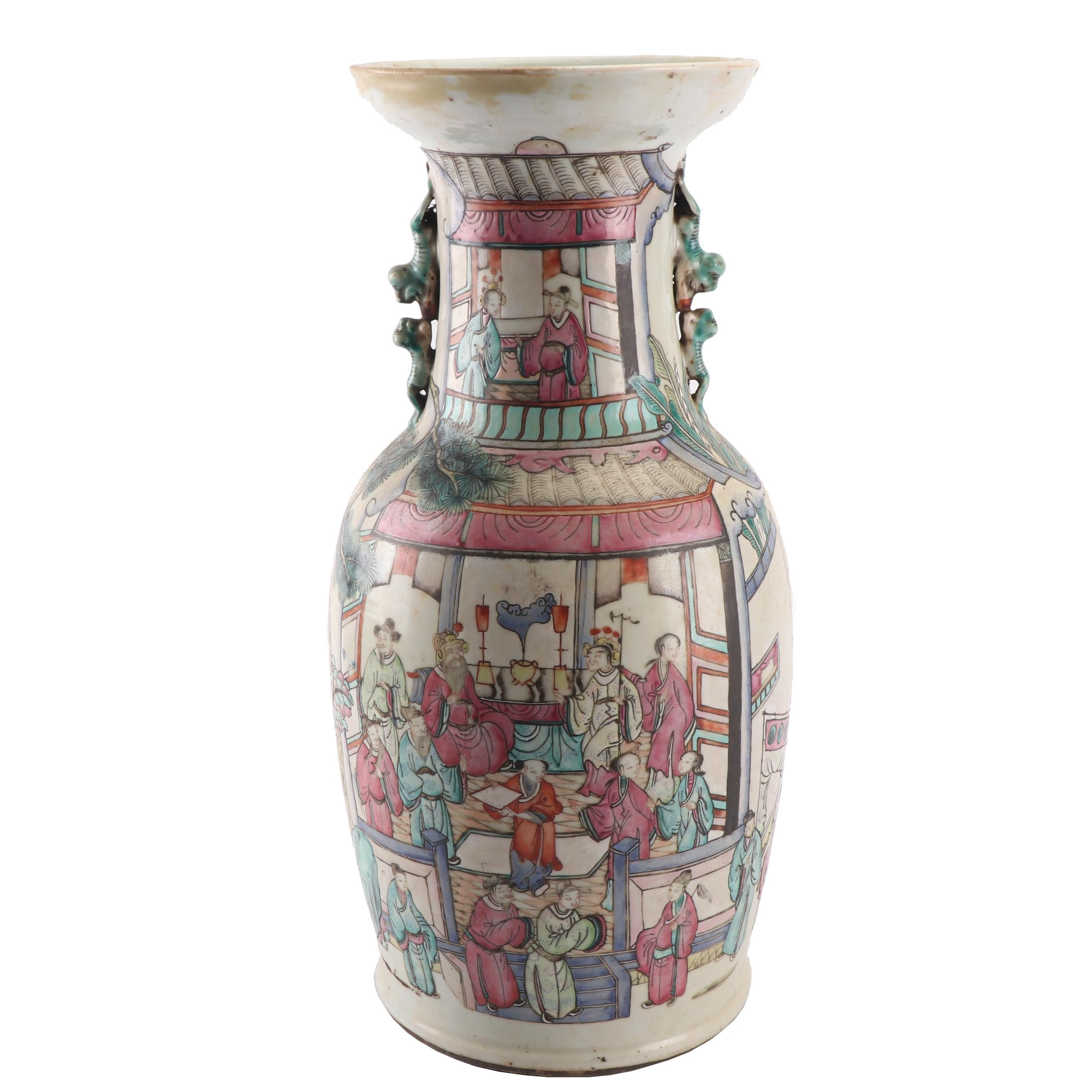 Chinese Hand-Painted Pictorial Scene Porcelain Vase, Late Qing/Republic
