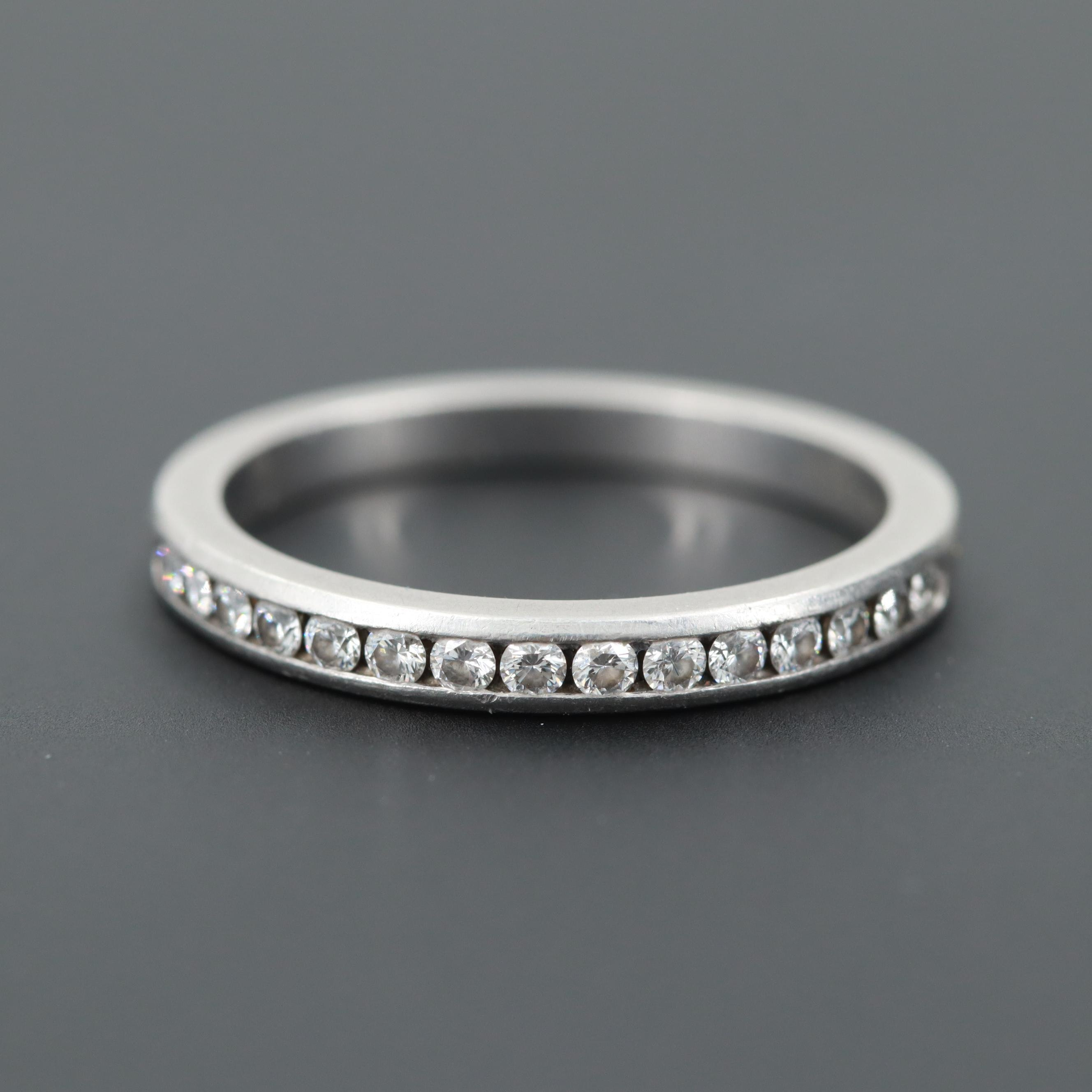 "Tiffany & Co Platinum Diamond ""Half Circle Eternity"" Ring with Box"