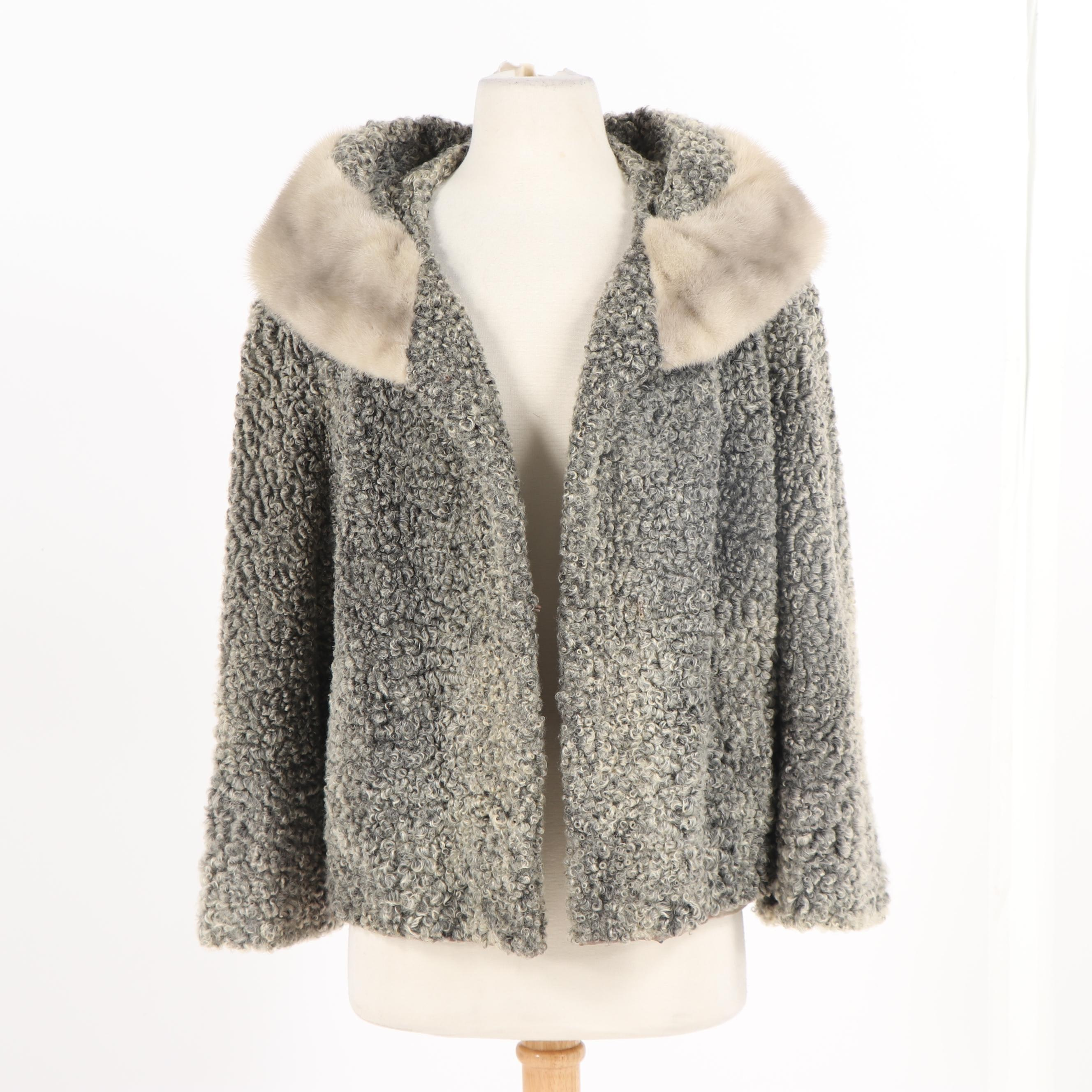 Macy's Fur Salon Grey Persian Lamb Fur Jacket with Mink Fur Collar, Vintage