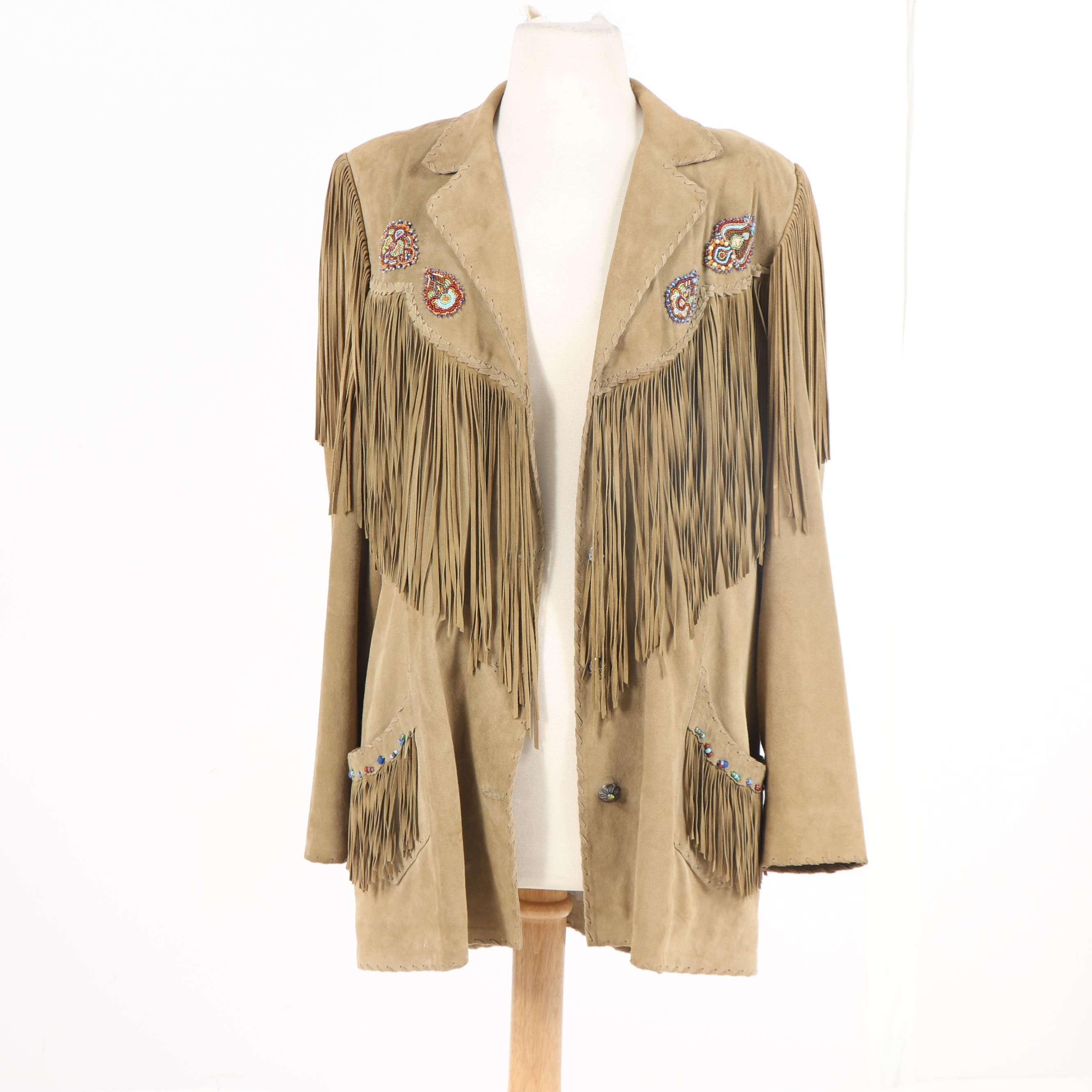 Women's Gossamer Wings Santa Fe Suede Fringe Jacket with Beaded Embellishments