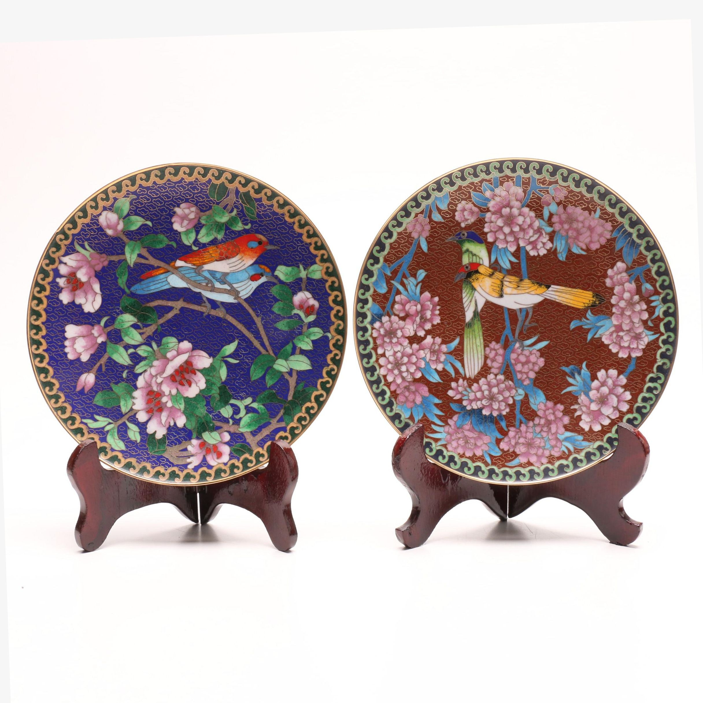 Chinese Cloisonné Plates with Stands