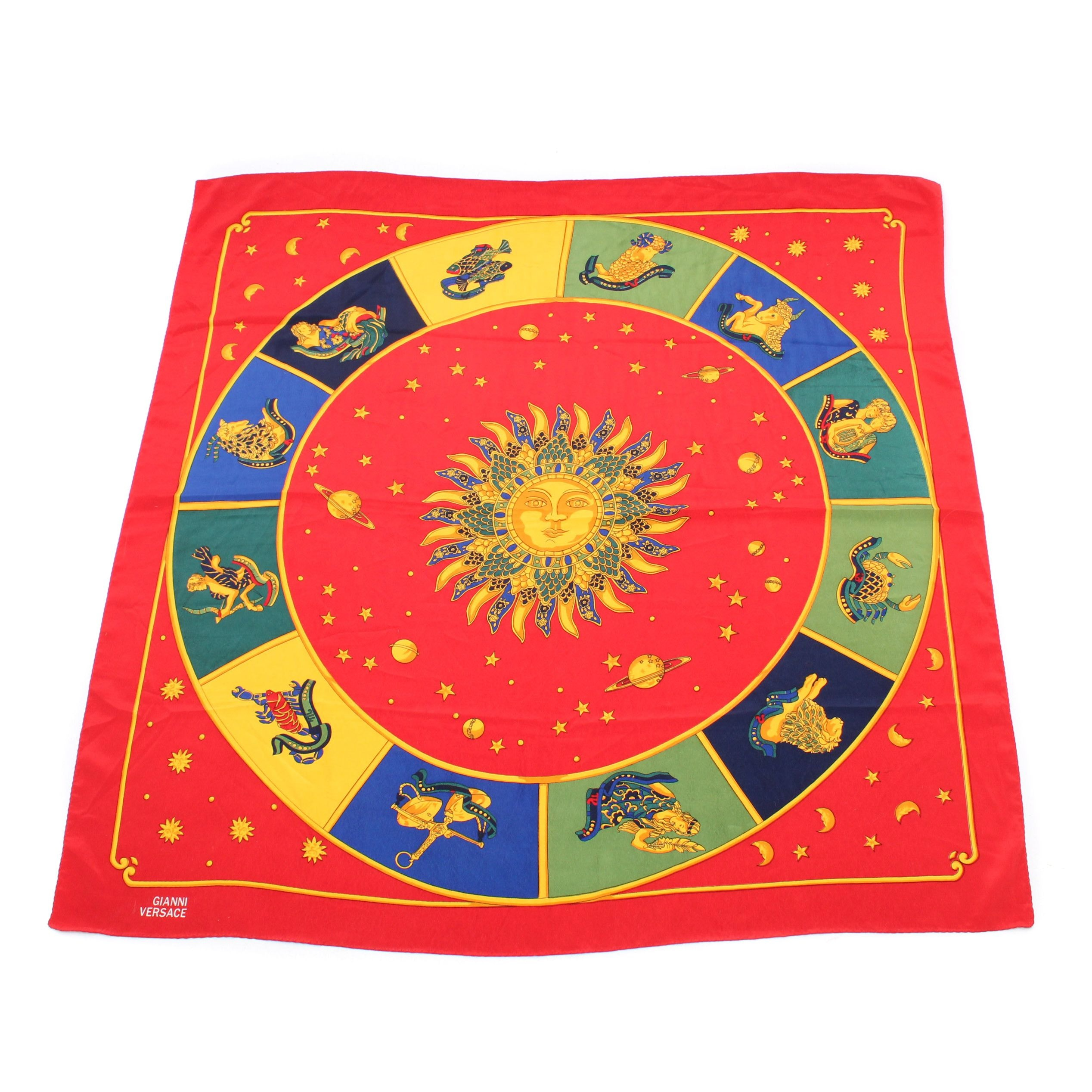 Vintage Gianni Versace Horoscope Series Silk Scarf