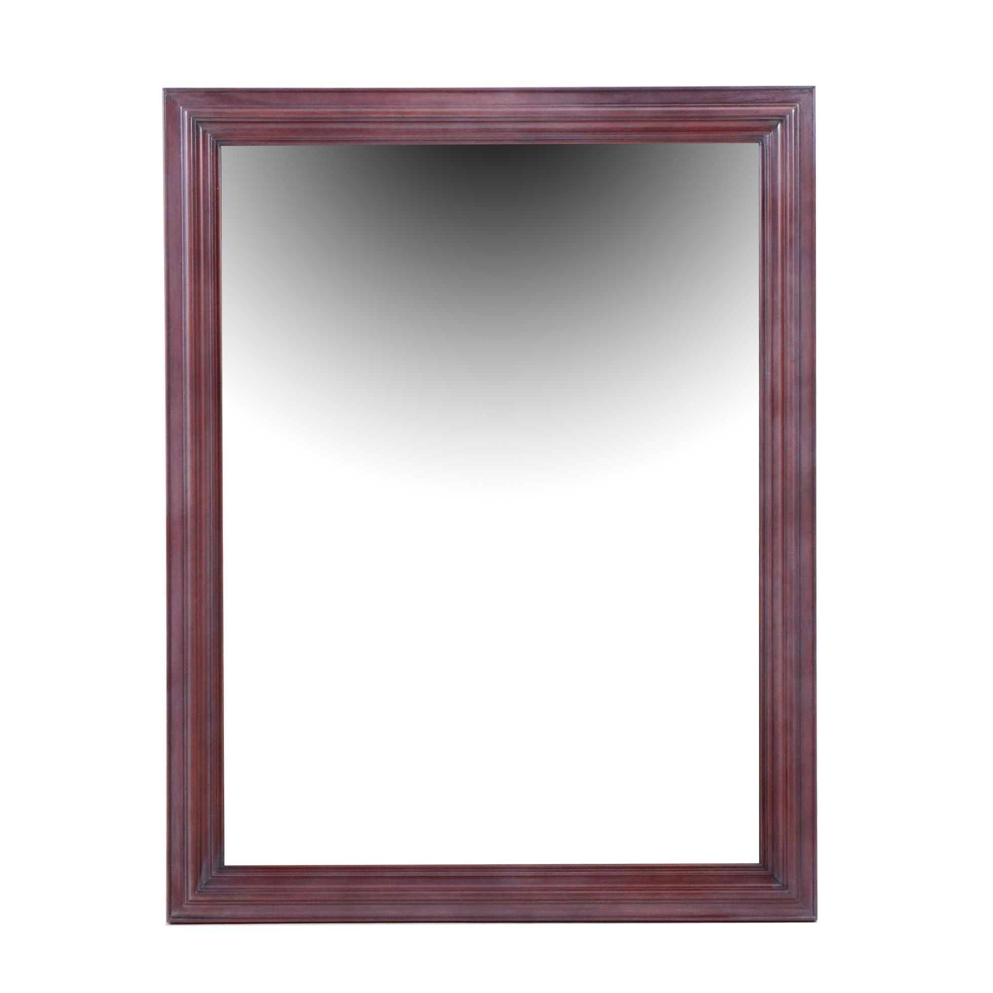 Large Wall Mirror with Cherry Finish Frame