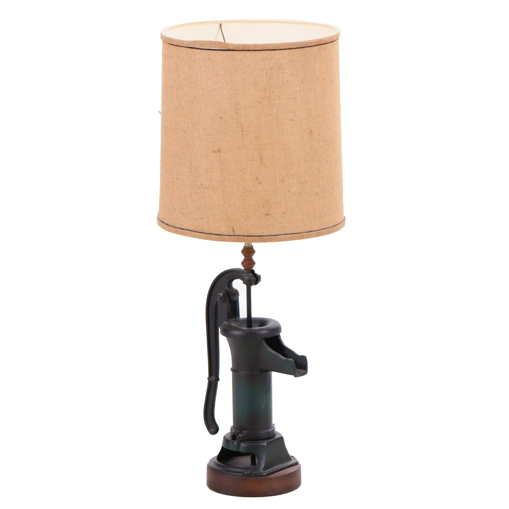 Converted Hand Water Pump Table Lamp with Lamp Shade, Mid-Century