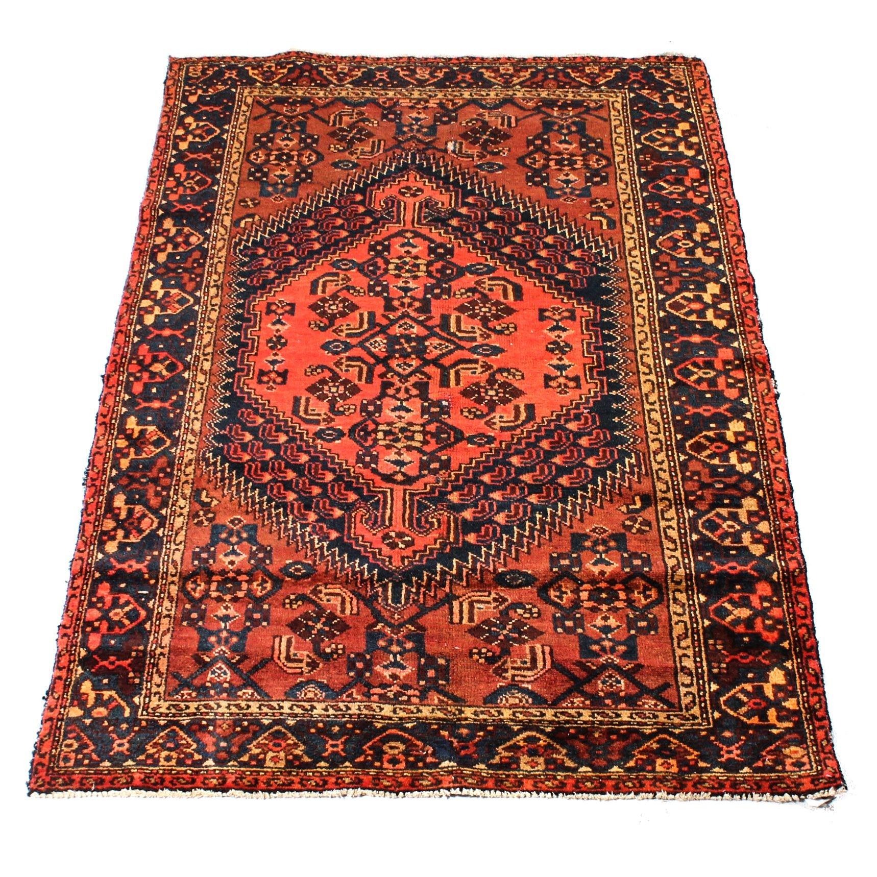 Hand-Knotted Persian Zanjan Rug, circa 1930