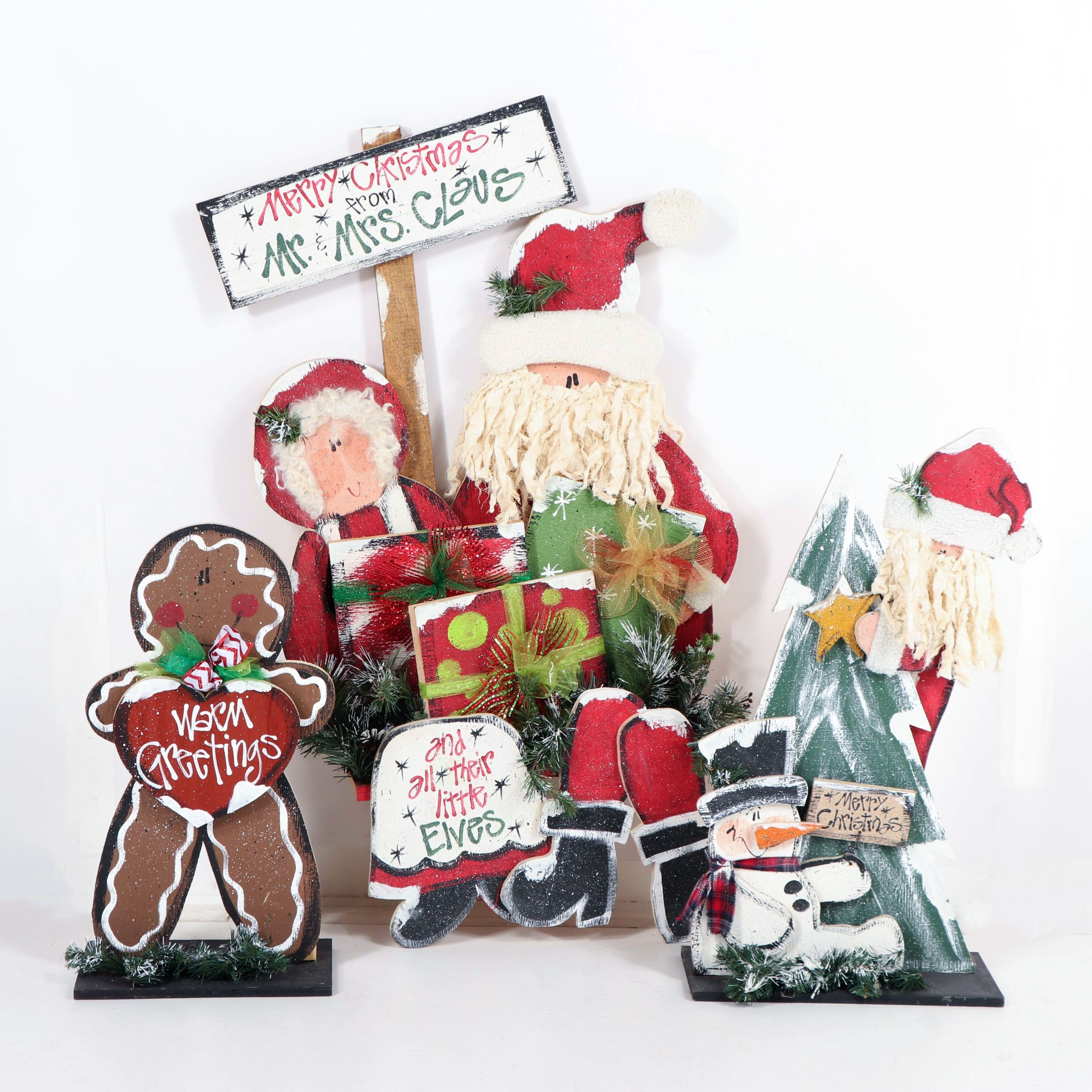 Hand-Painted Decorated Plywood Christmas Decor Featuring Mr. & Mrs. Claus