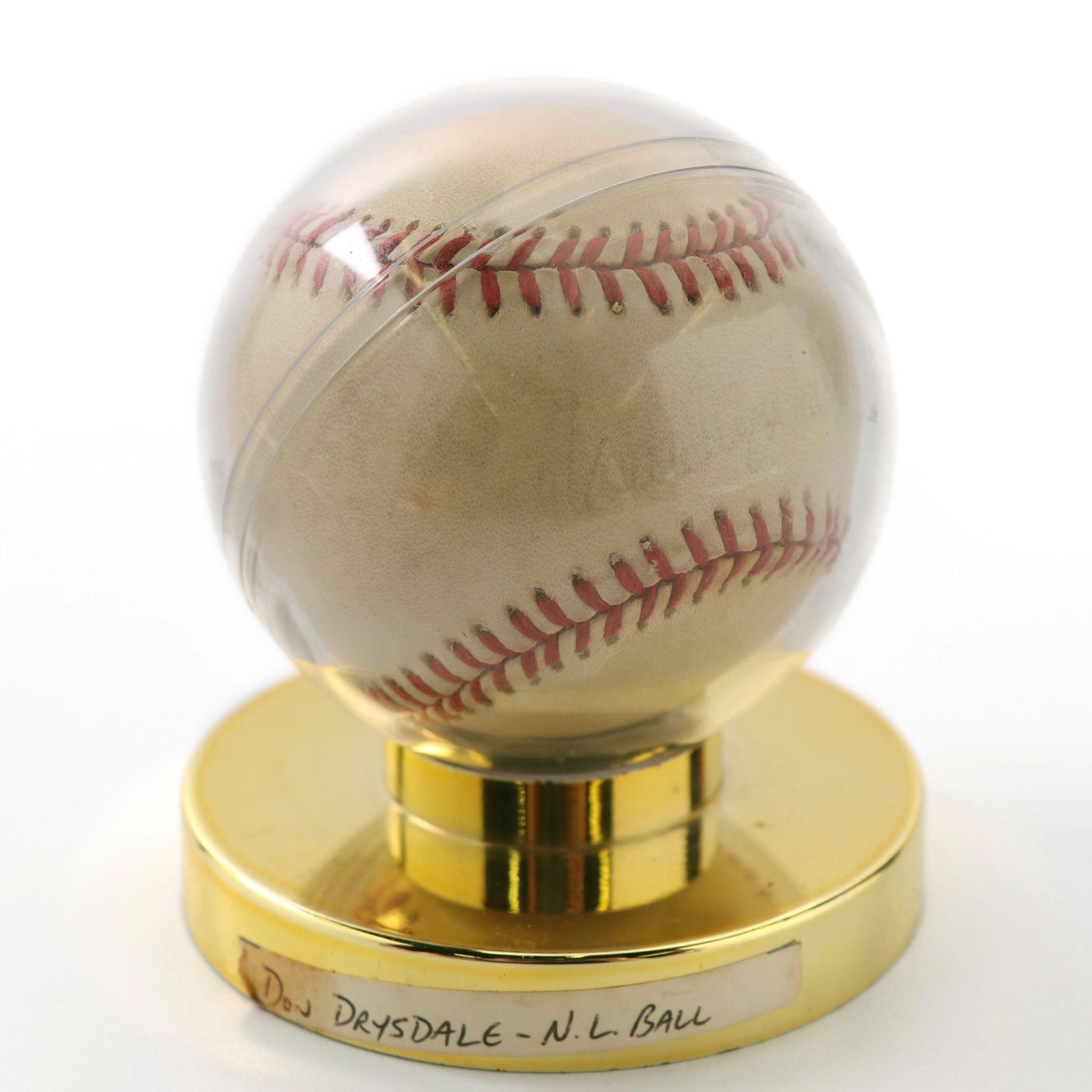 Don Drysdale Autographed Baseball