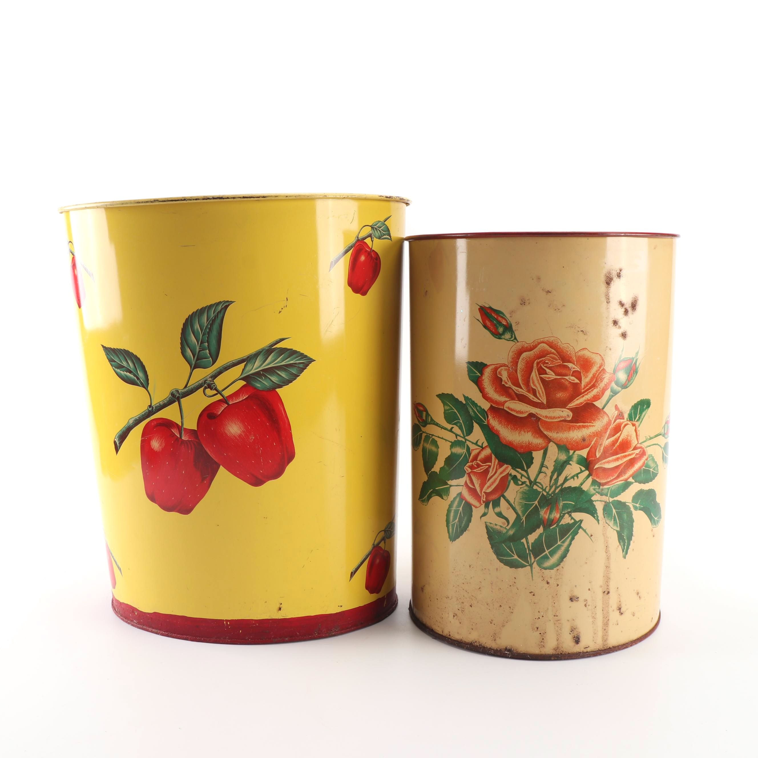 Floral Painted Tin Waste Baskets including Decoware, Mid-20th Century
