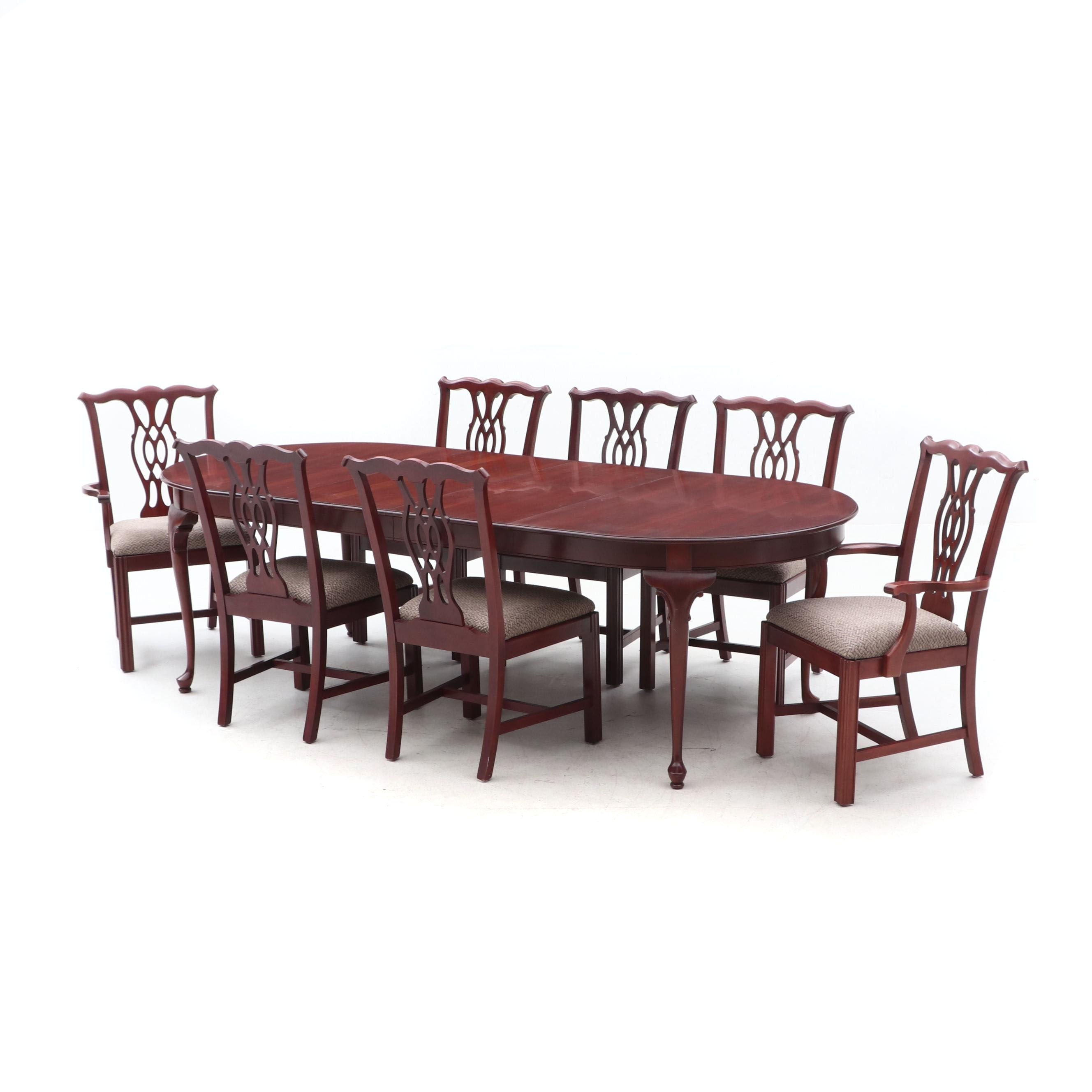 Queen Anne Style Dining Table with Chippendale Style Chairs in Cherry
