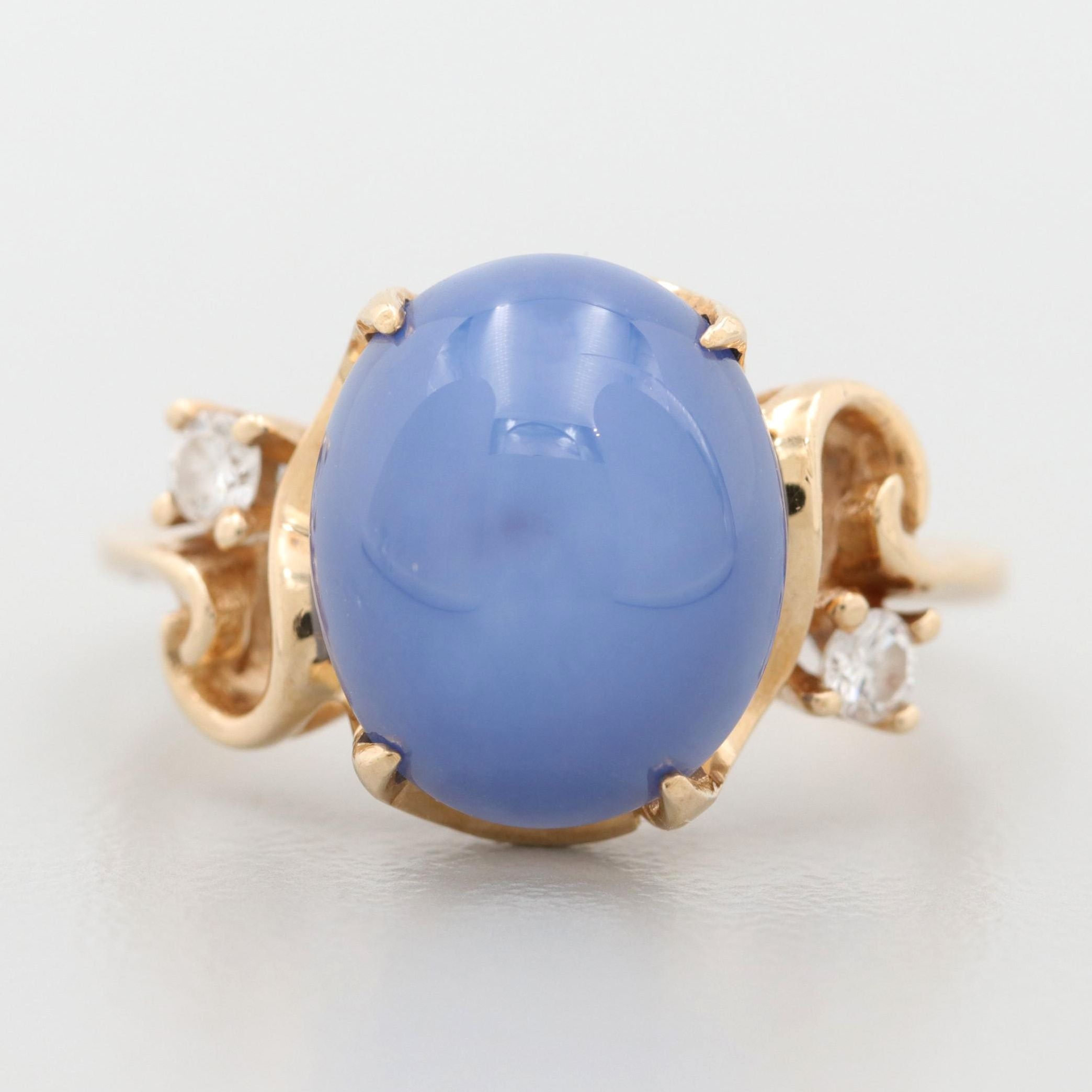 14K Yellow Gold Synthetic Star Sapphire and Diamond Ring