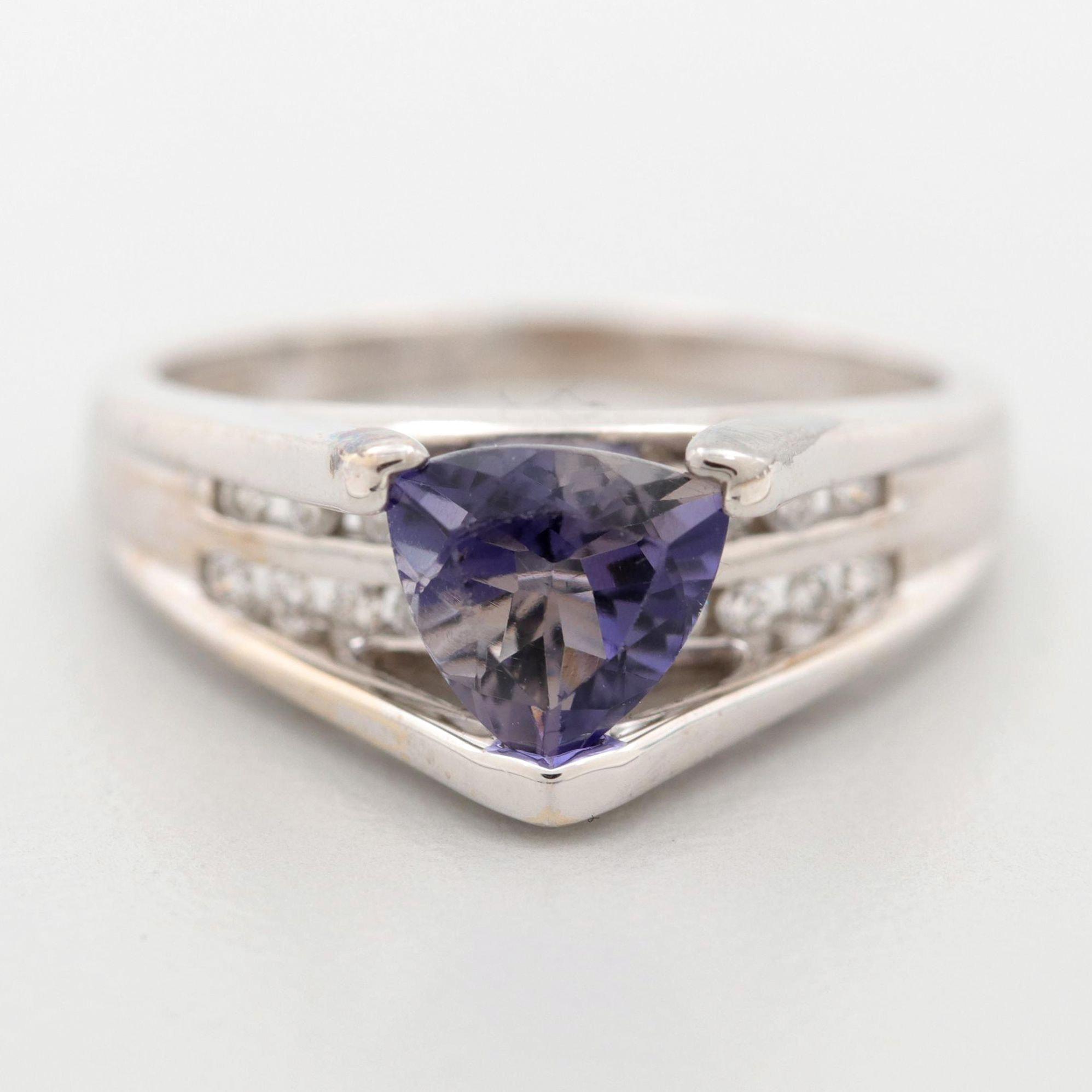 14K White Gold Iolite and Diamond Ring