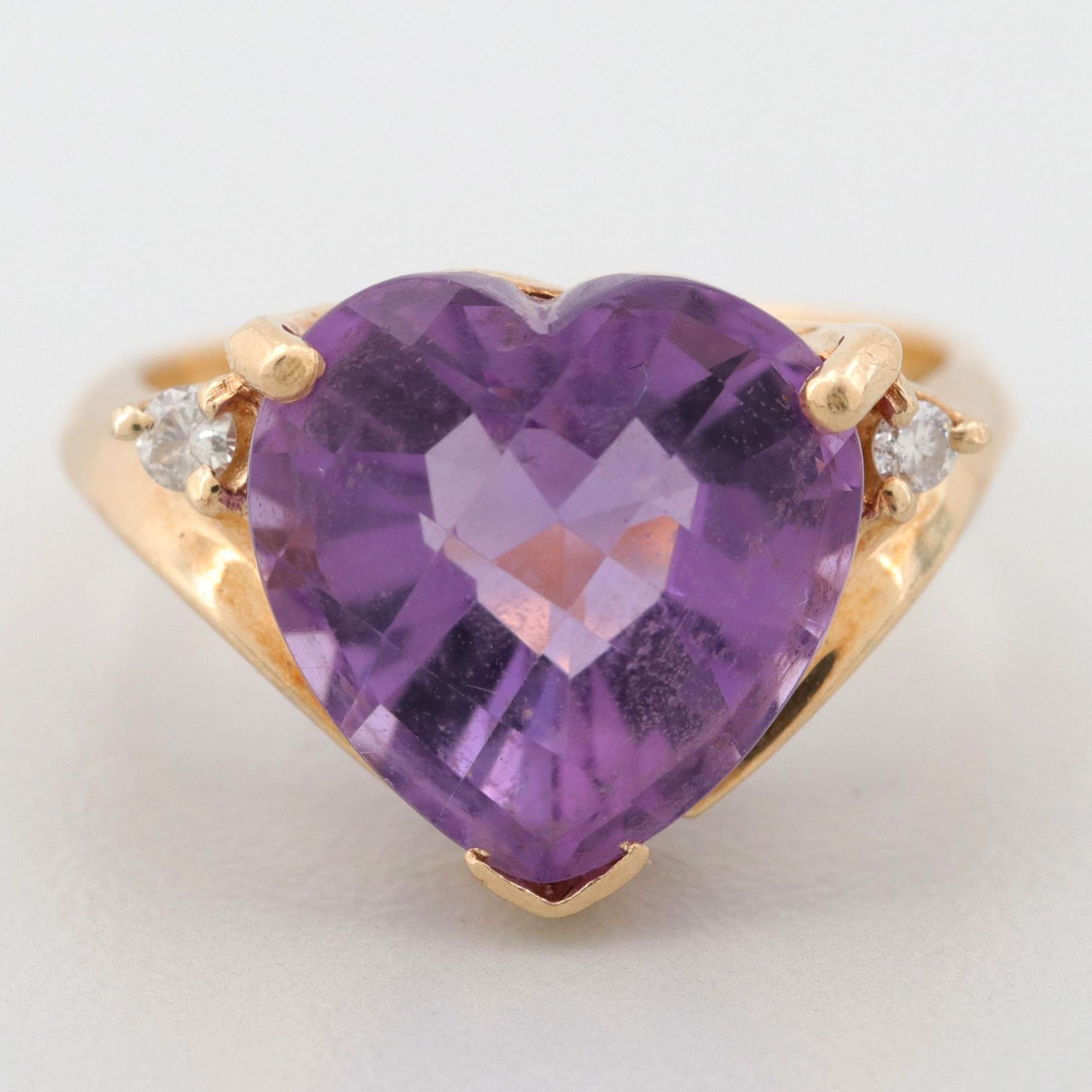 14K Yellow Gold Amethyst and Diamond Heart Ring