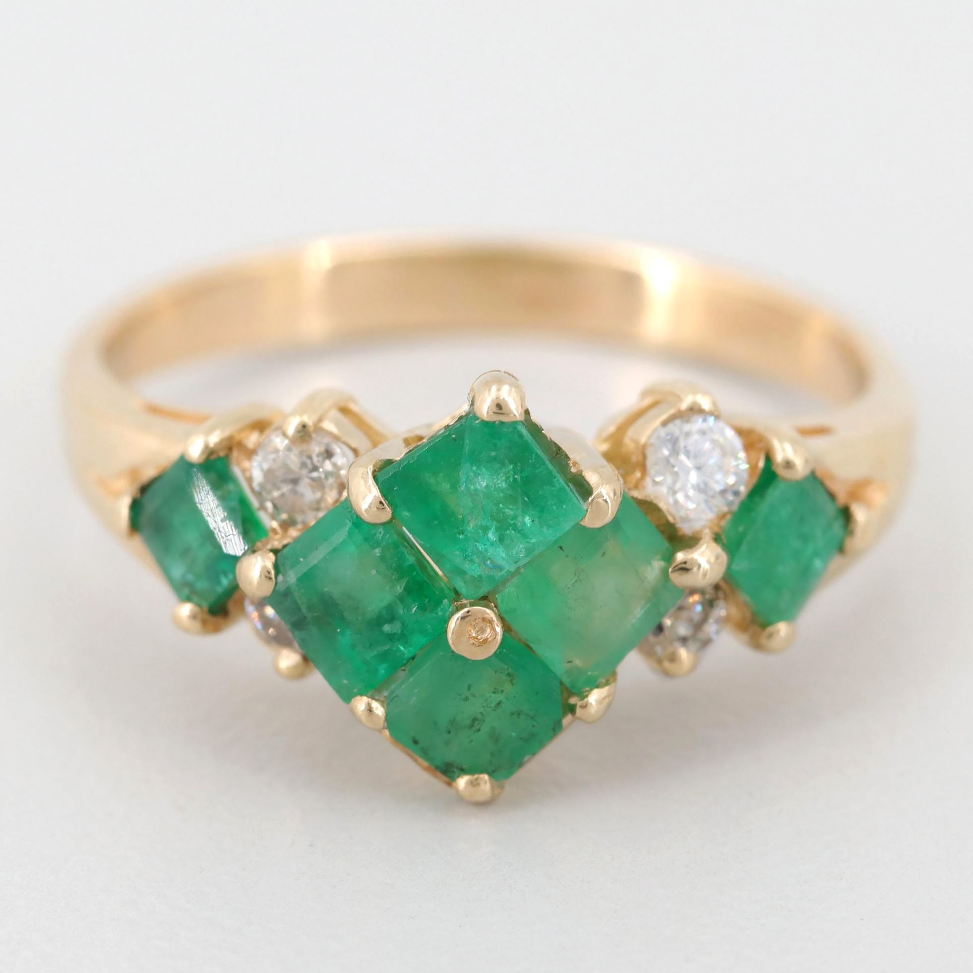 14K Yellow Gold Emerald, Diamond, and Cubic Zirconia Ring