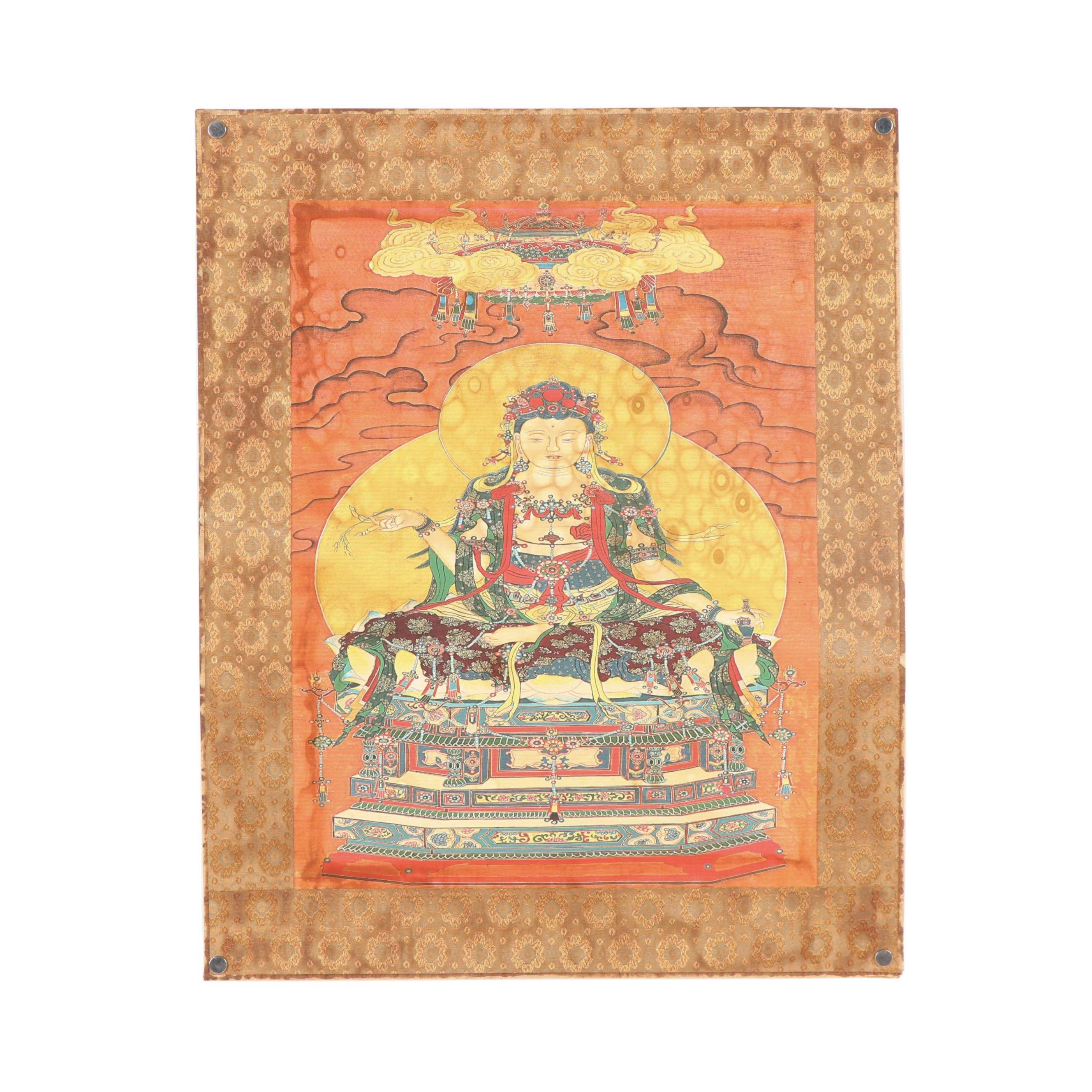 Vintage Tibetan Thangka Lithograph Thangka