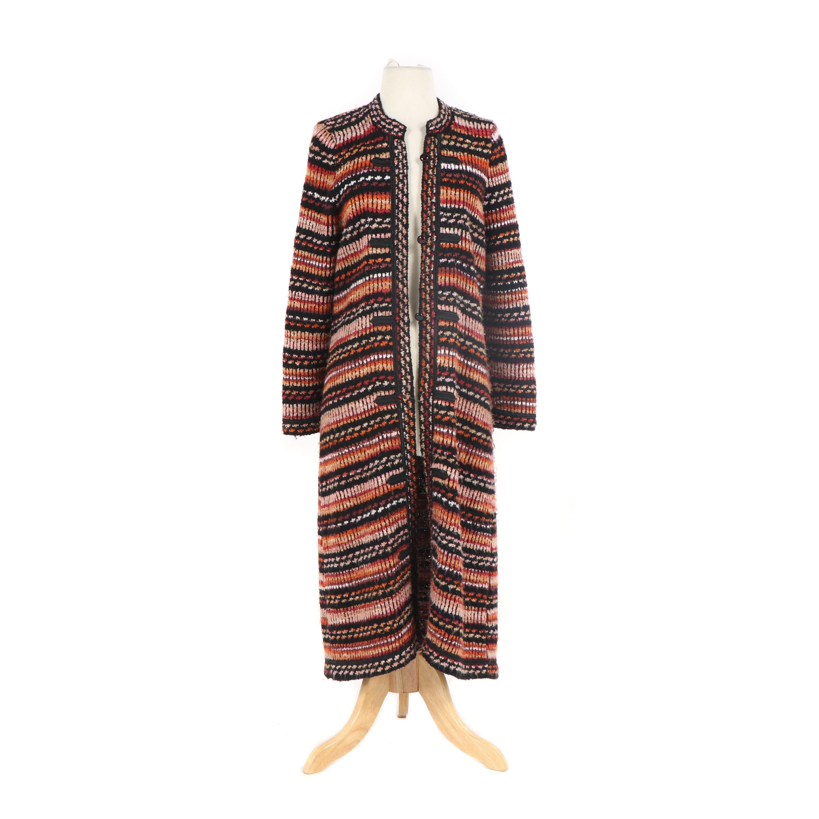 Women's Adolfo New York Striped Wool Blend Cardigan Duster