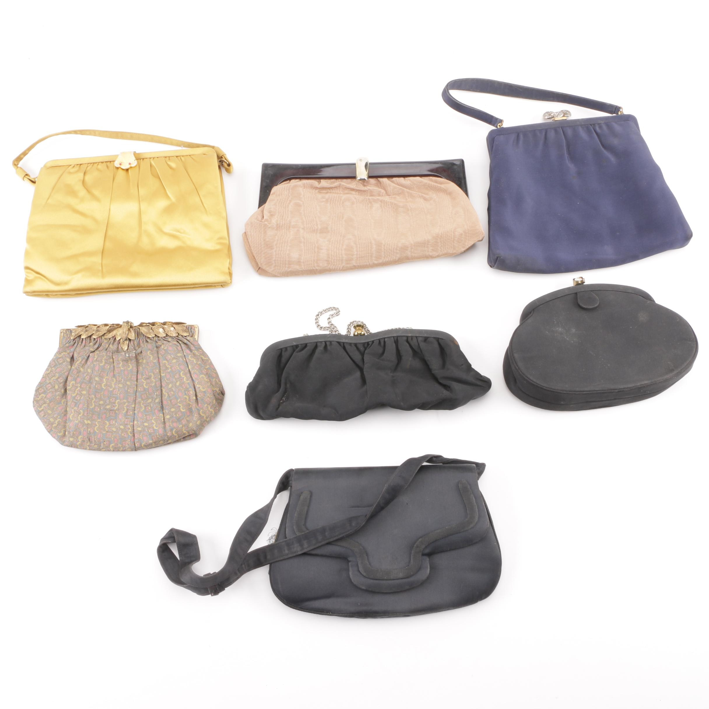 Fabric Evening Bags and Clutches Including Morris Moskowitz and Crown Lewis