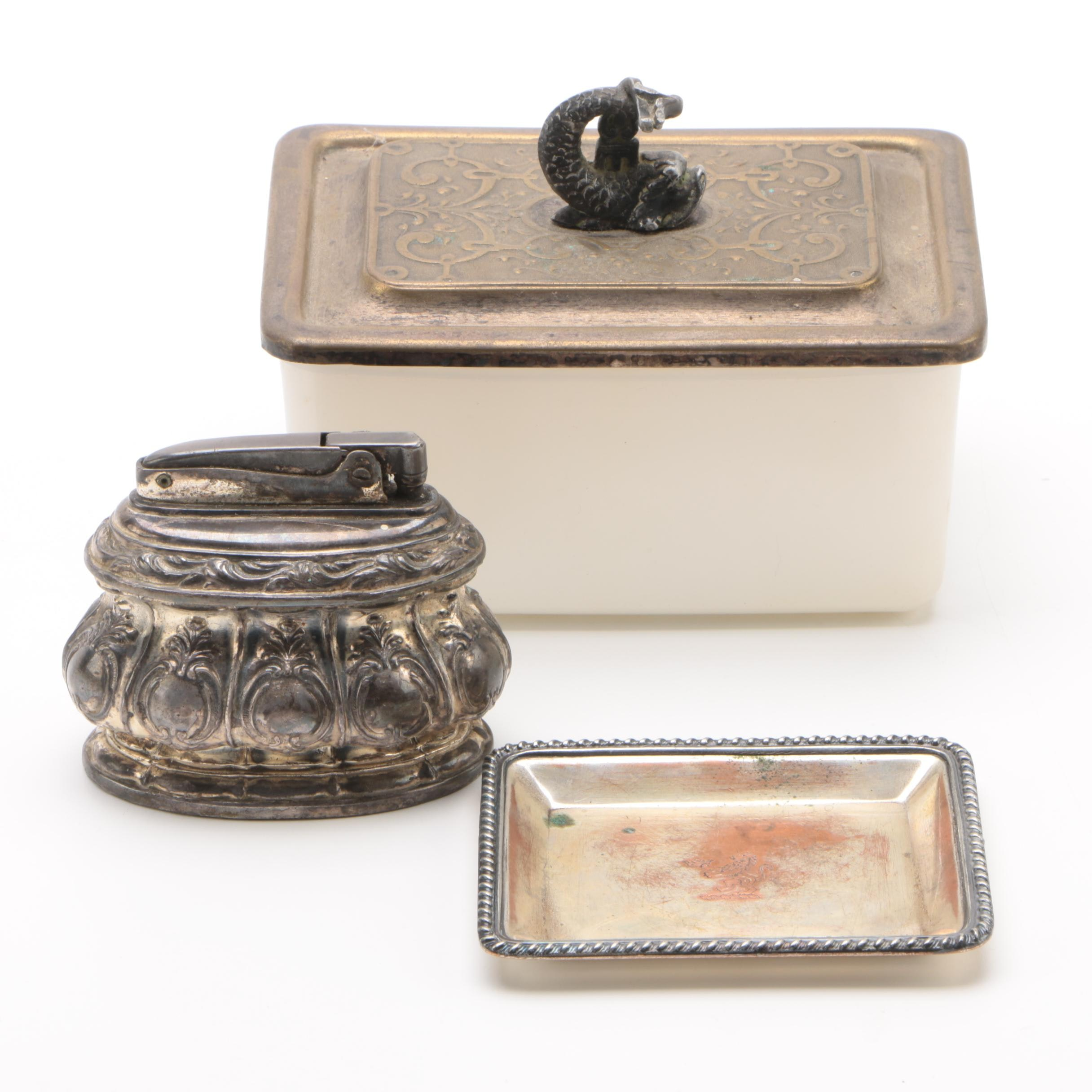 """Ronson """"Regal"""" Silver Plate Table Lighter with Exter Sardine Box and Dish"""