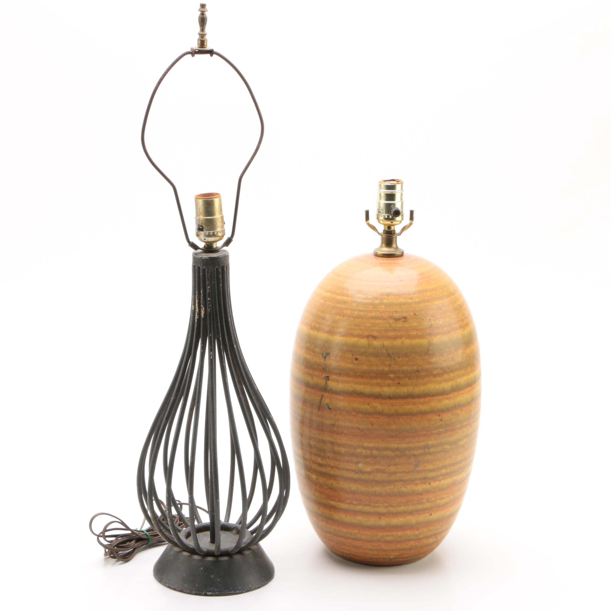 Black Cast Iron Cage Lamp with Mid-Century Style Ceramic Table Lamp