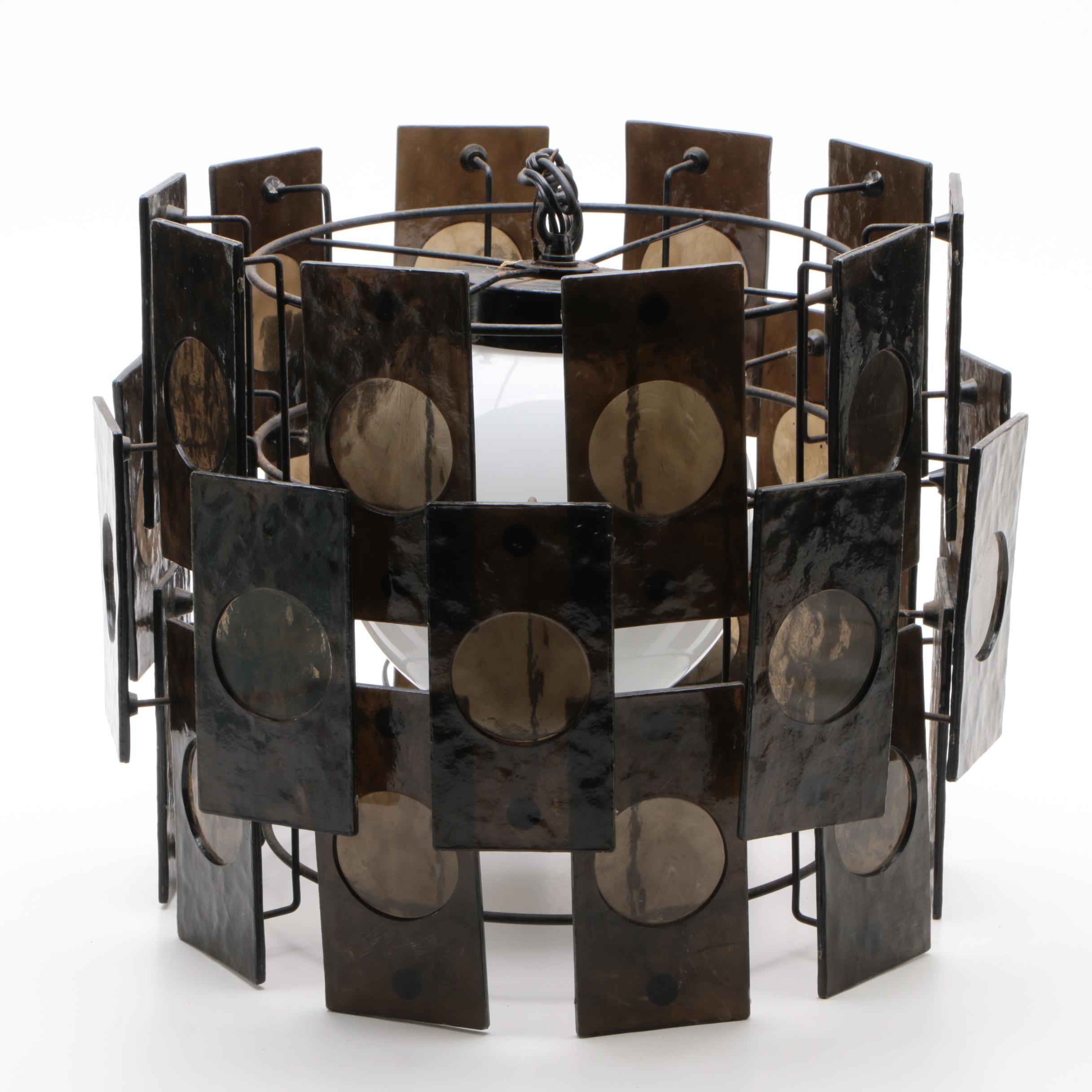 Mid Century Modern Geometric Tiered Cage Pendant Lamp
