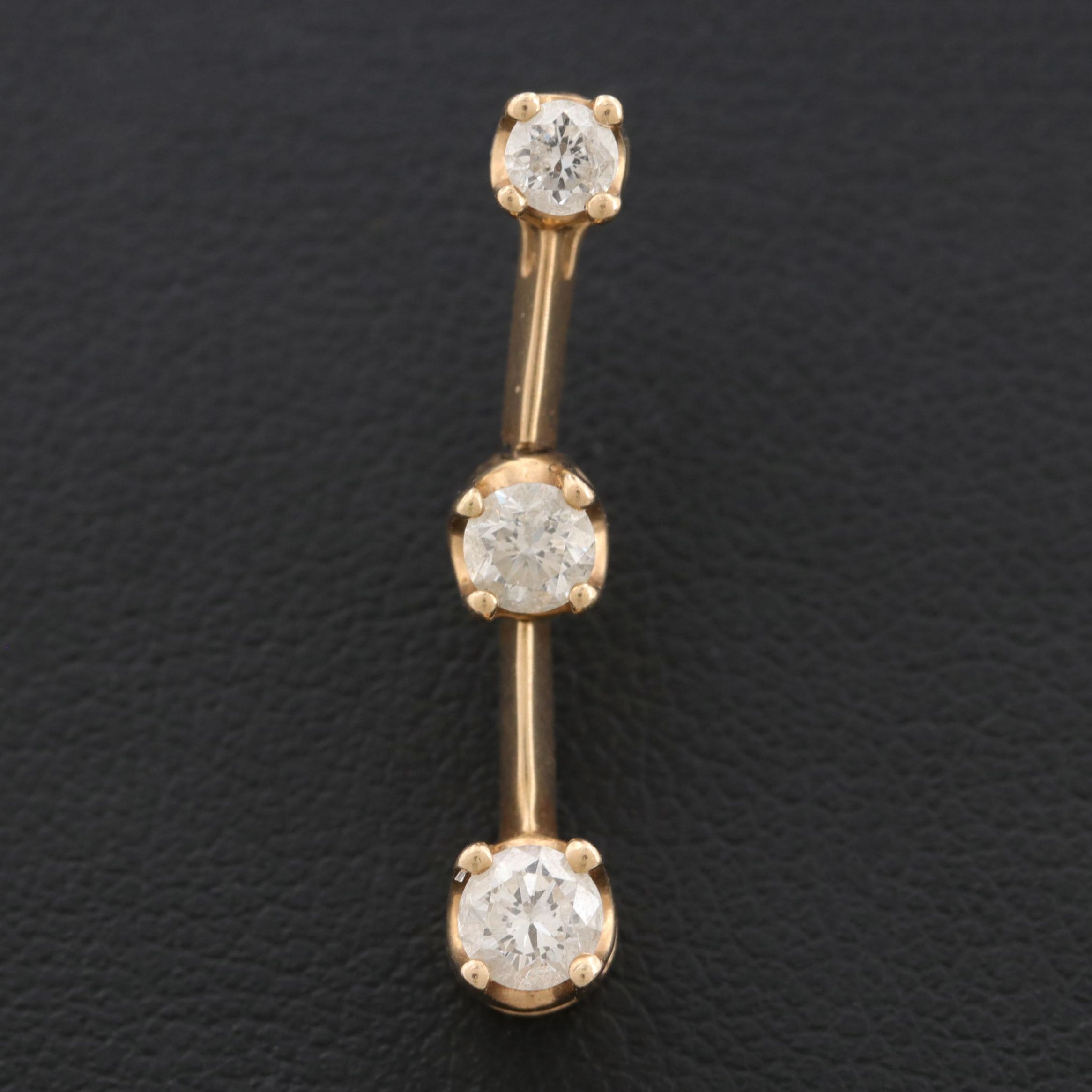 14K Yellow Gold Diamond Articulated Bar Pendant