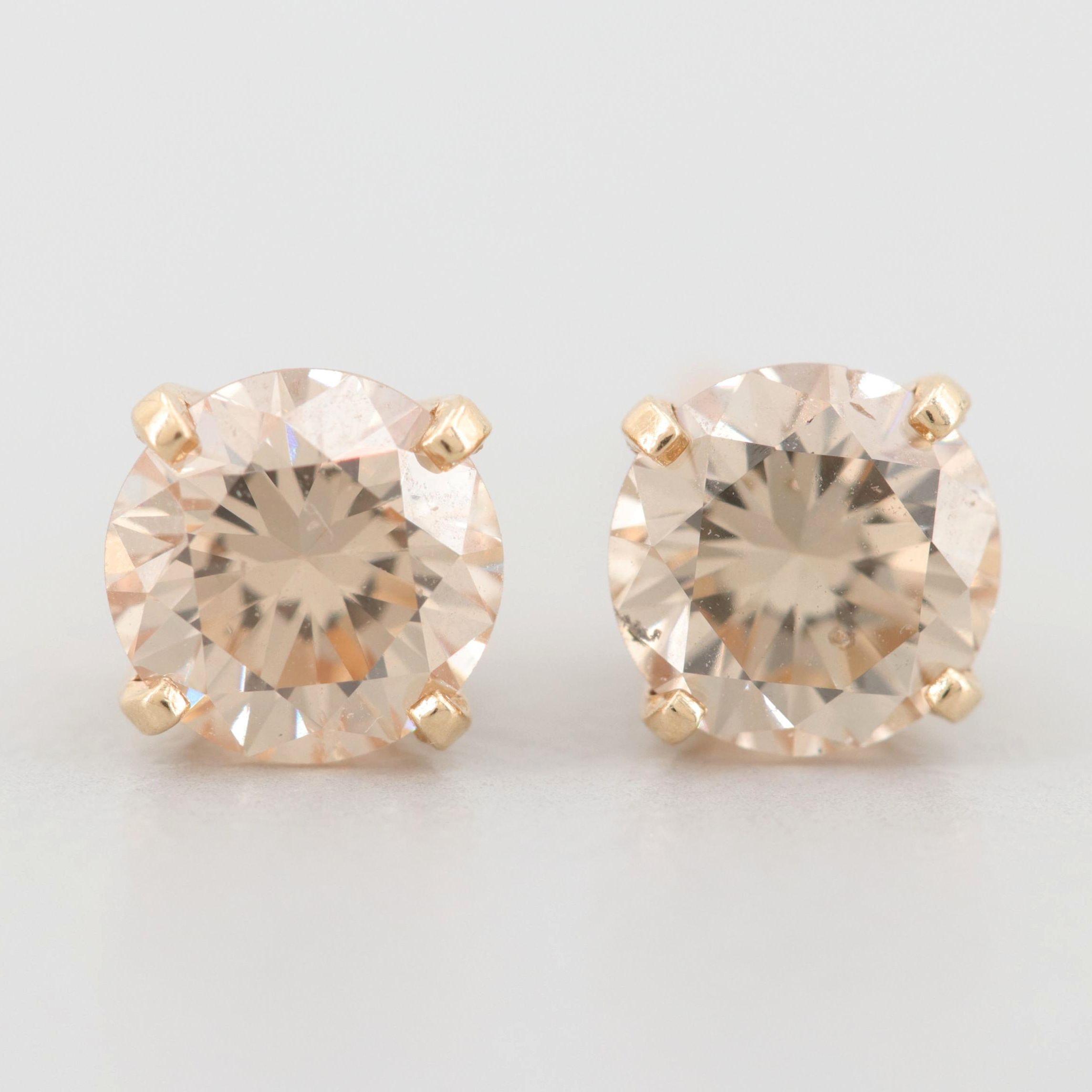 14K Yellow Gold 1.28 CTW Diamond Stud Earrings