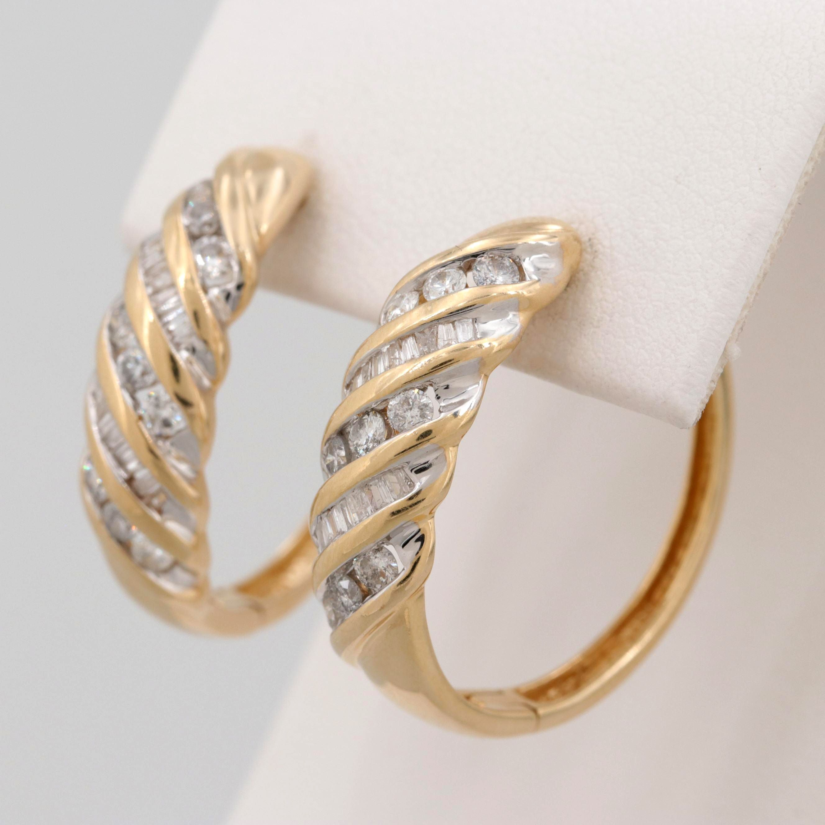 14K Yellow Gold 1.00 CTW Diamond Hoop Earrings