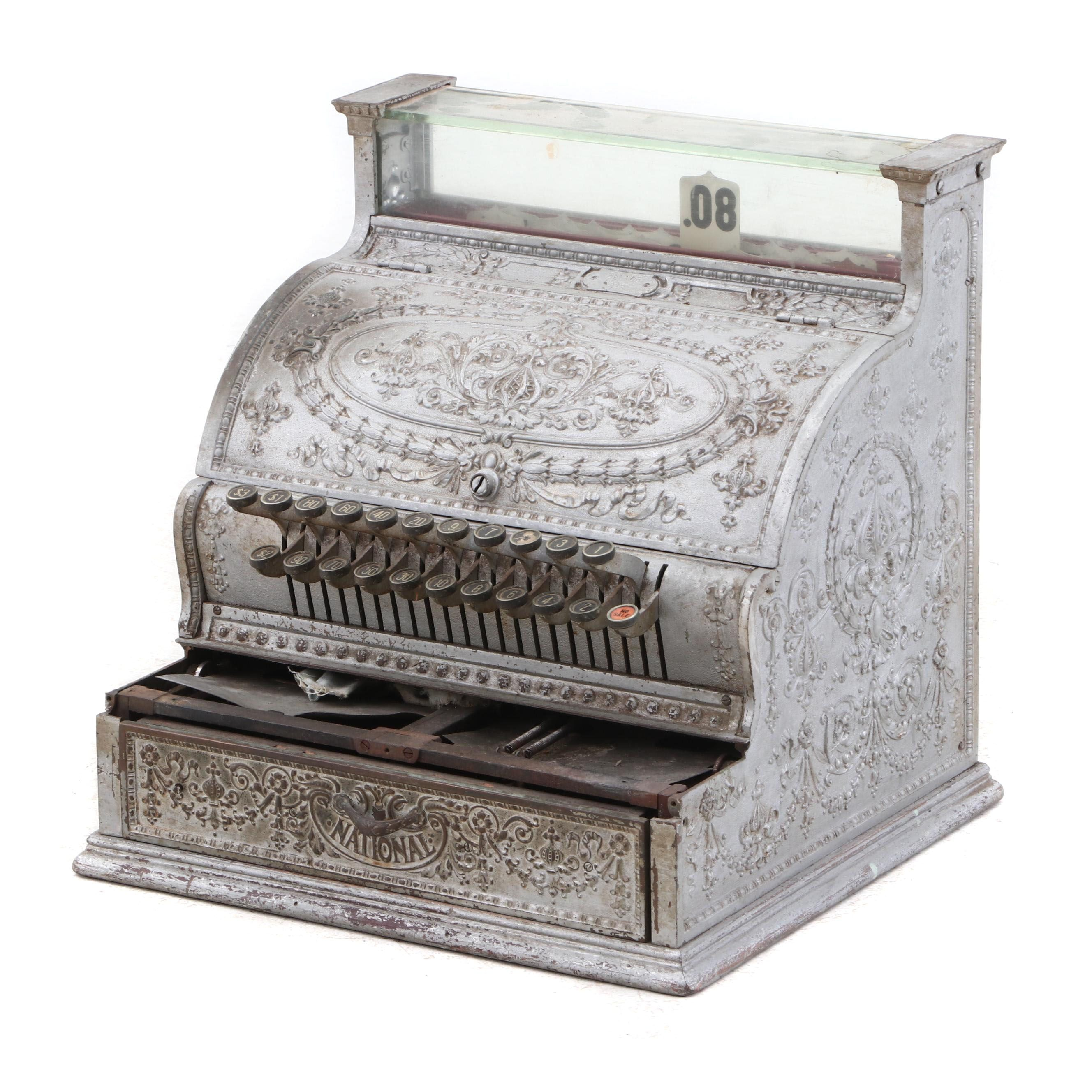 Antique Iron National Cash Register No. 332, Circa 1910
