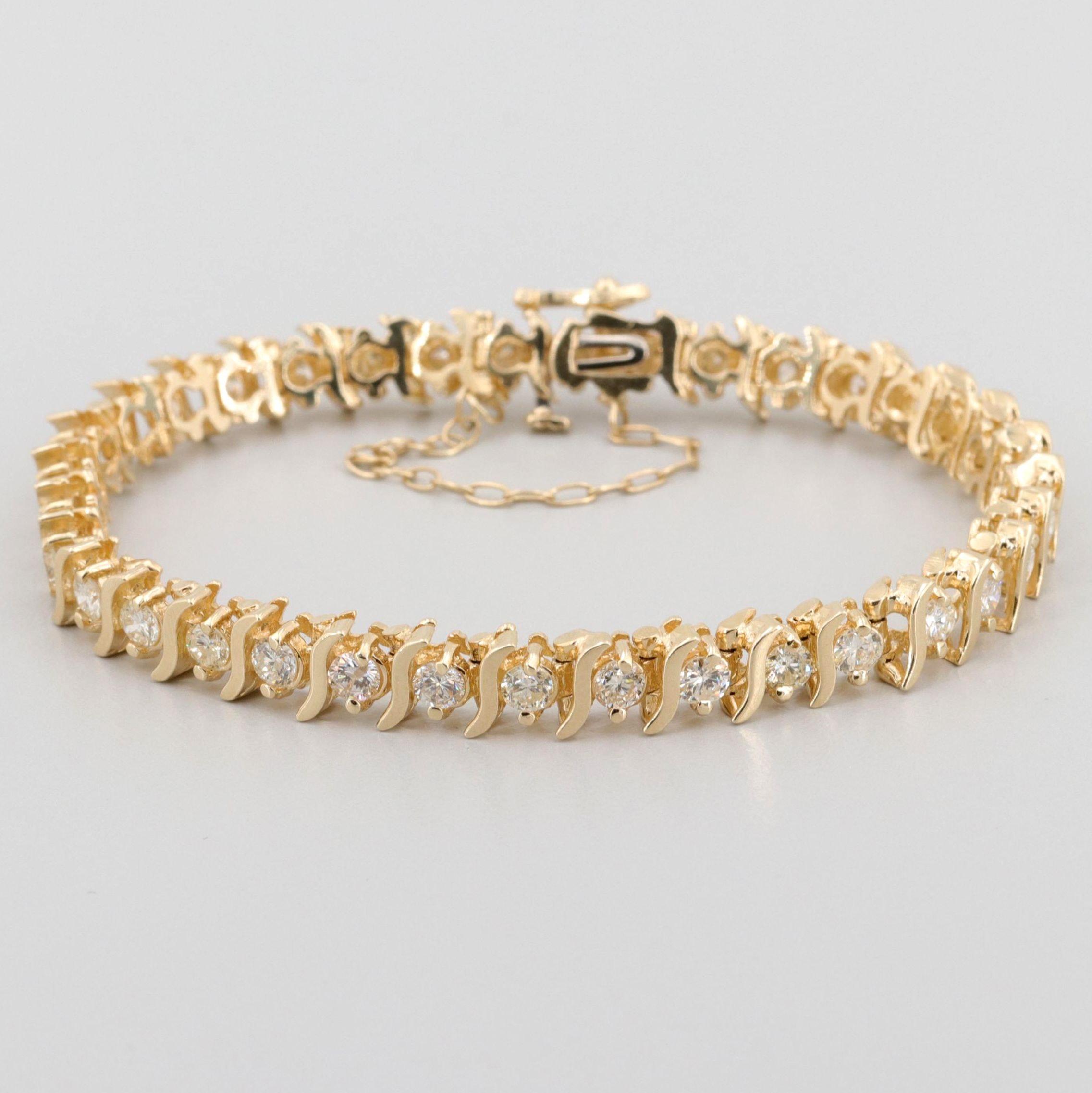 "14K Yellow Gold 4.50 CTW Diamond ""S"" Link Bracelet"