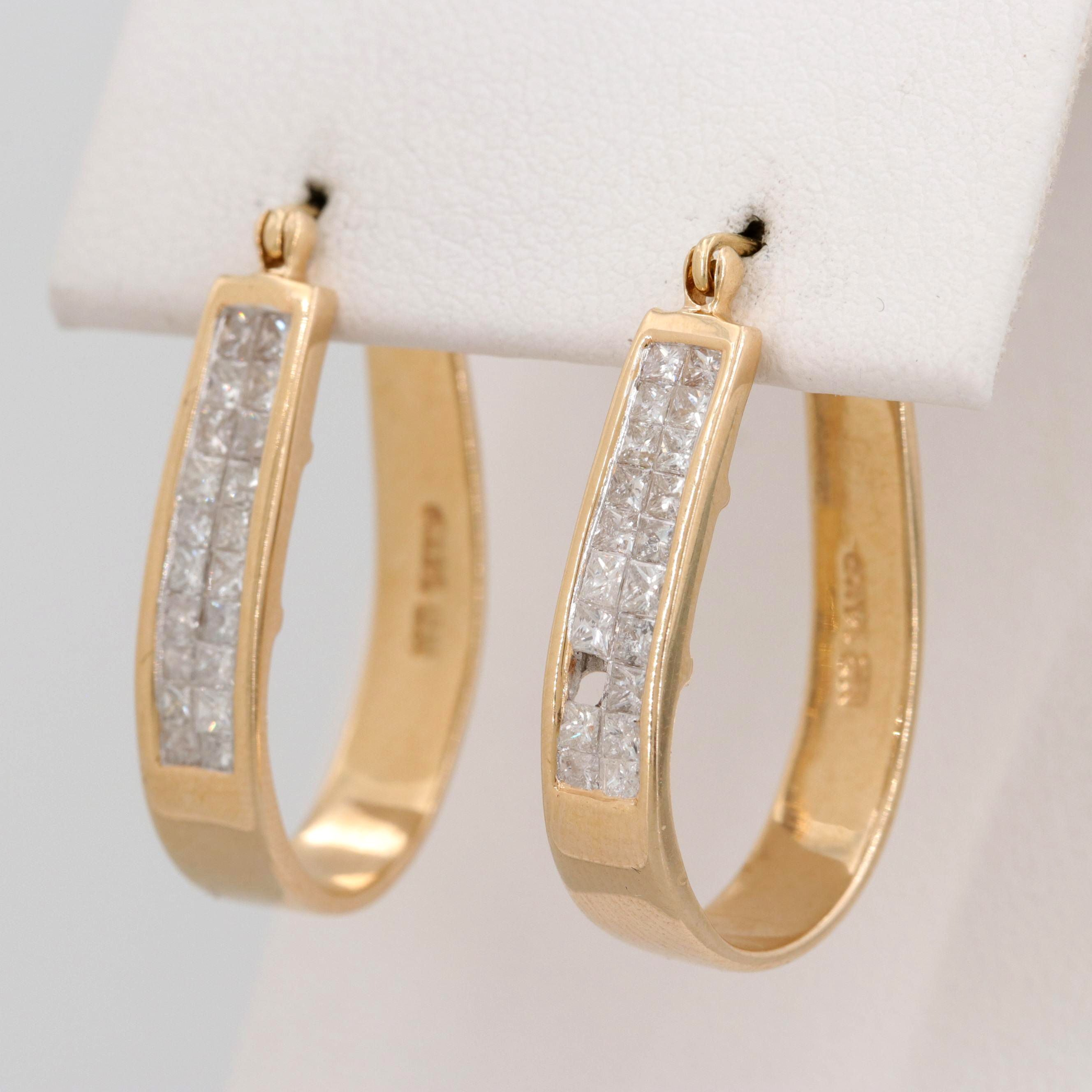 14K Yellow Gold 1.17 CTW Diamond Invisible Set Earrings