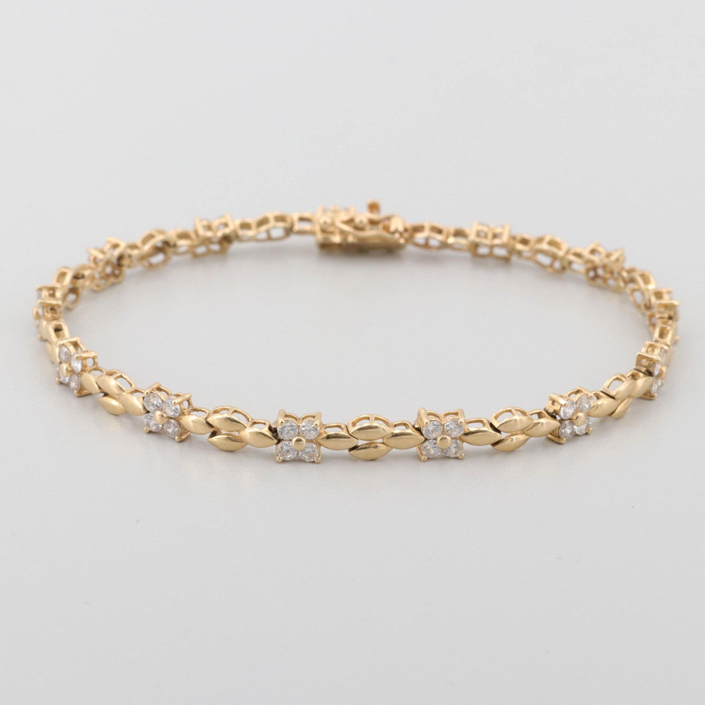 14K Yellow Gold Cubic Zirconia Bracelet