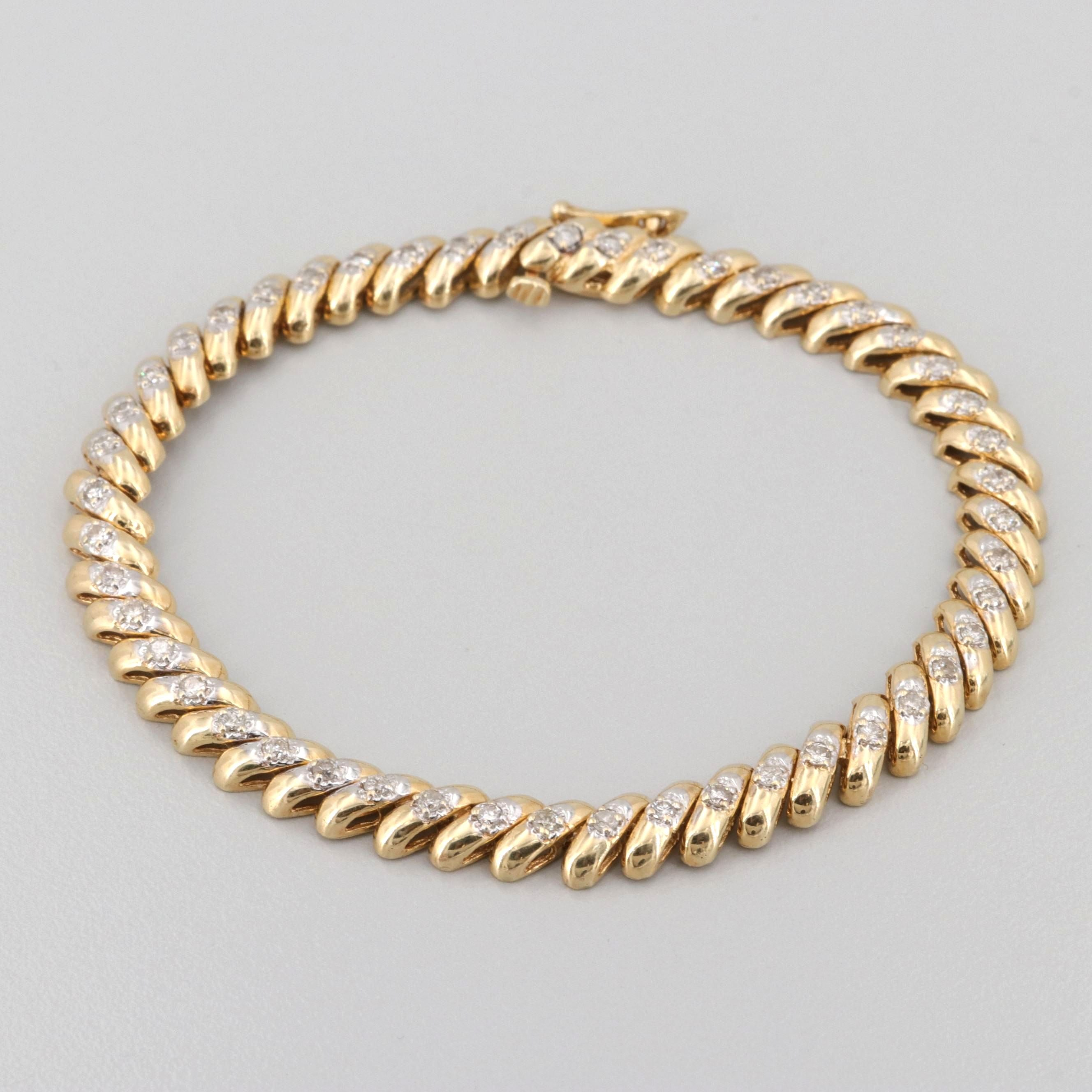 14K Yellow Gold 1.08 CTW Diamond Bracelet