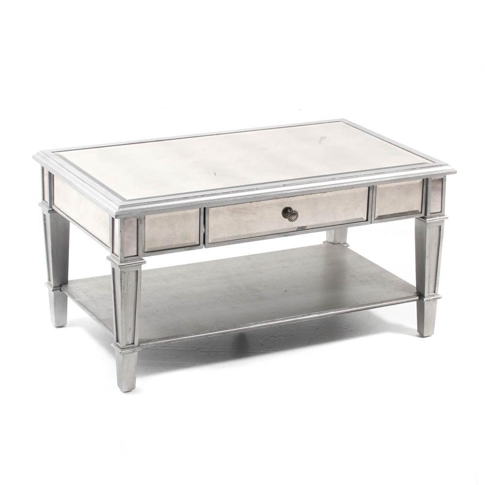 Pier 1 Silver Tone Mirrored Coffee Table