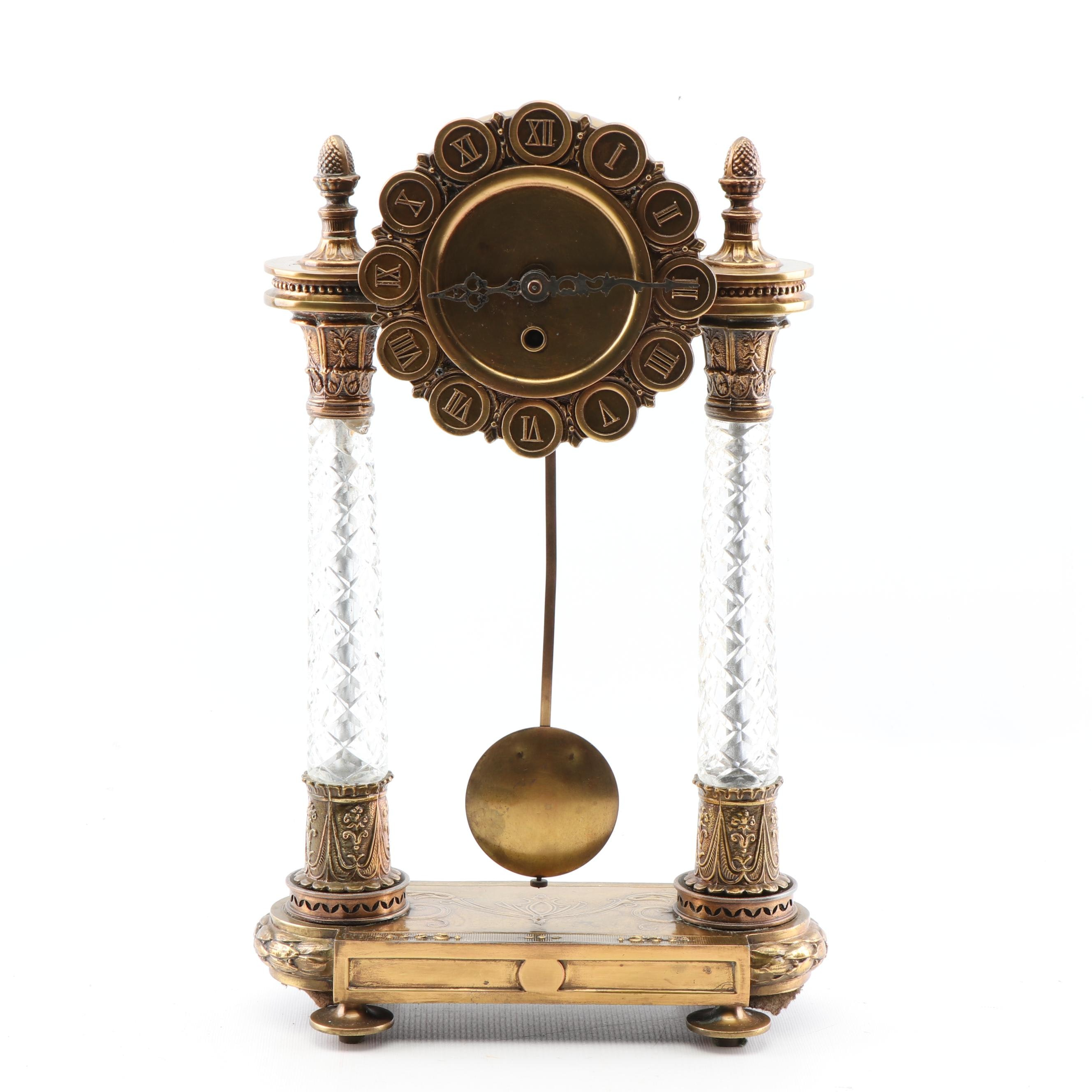 Crystal and Brass Portico Clock