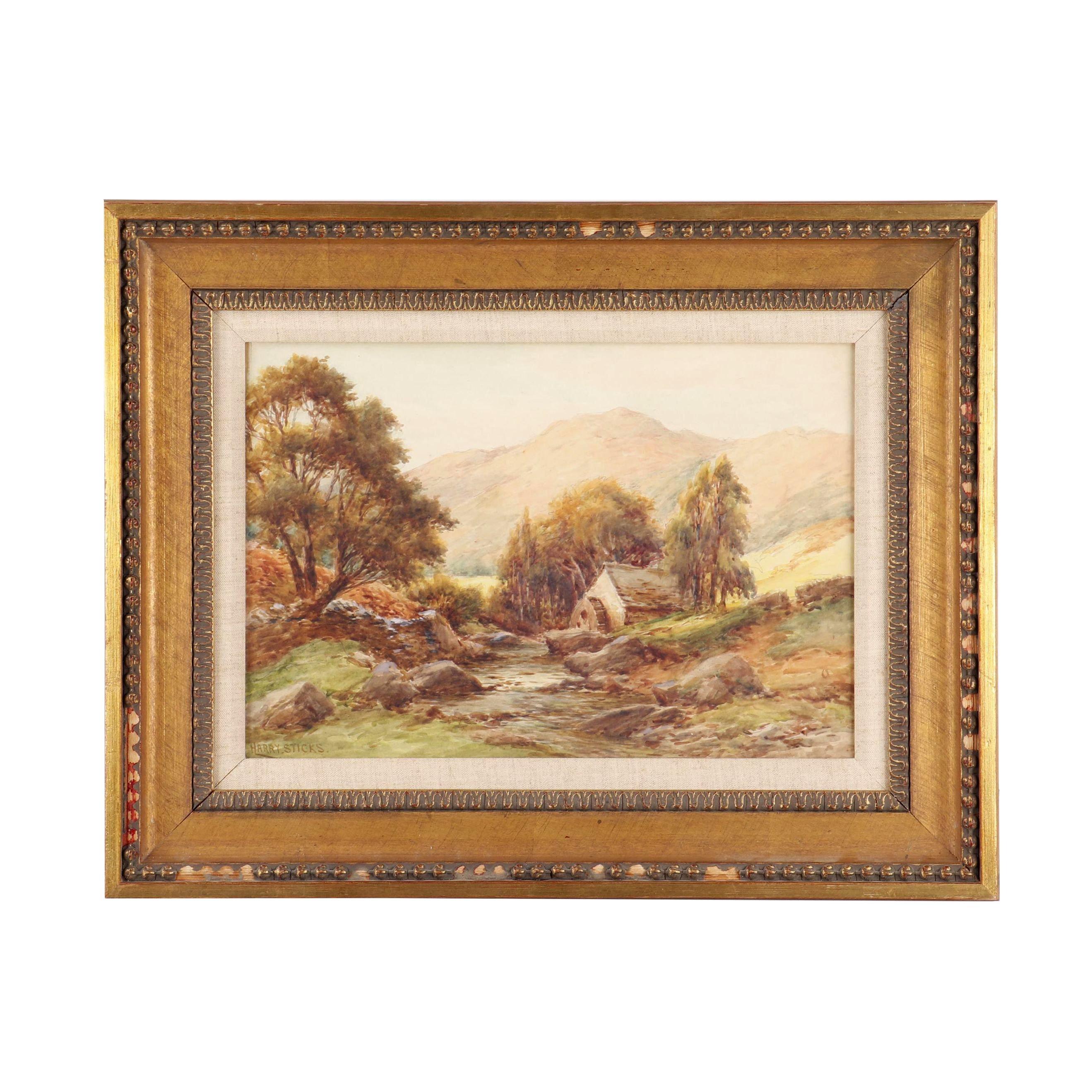 "Harry James Sticks Watercolor ""Borrowdale Mill"""
