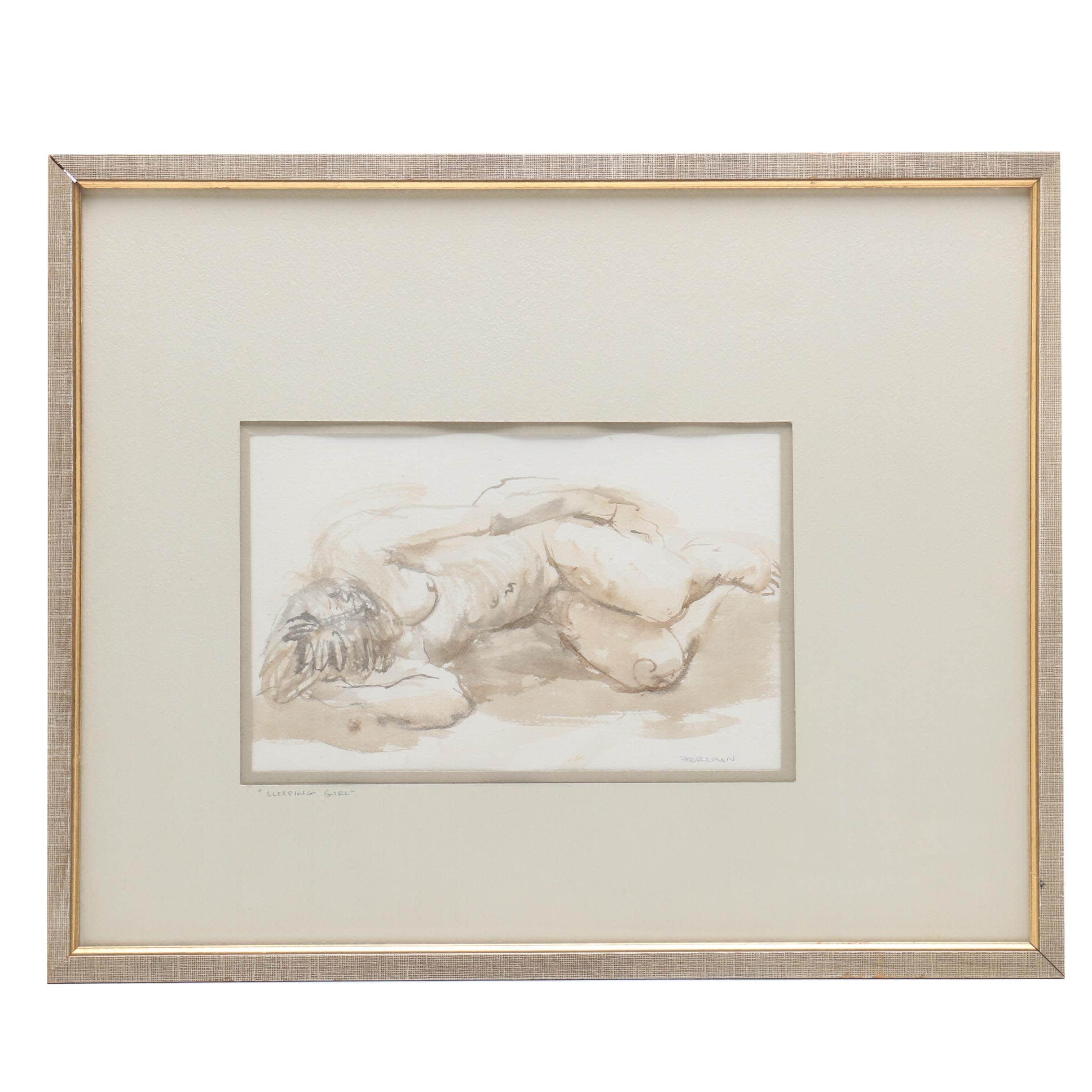 "Ruthe G. Pearlman Watercolor Painting ""Sleeping Girl"""