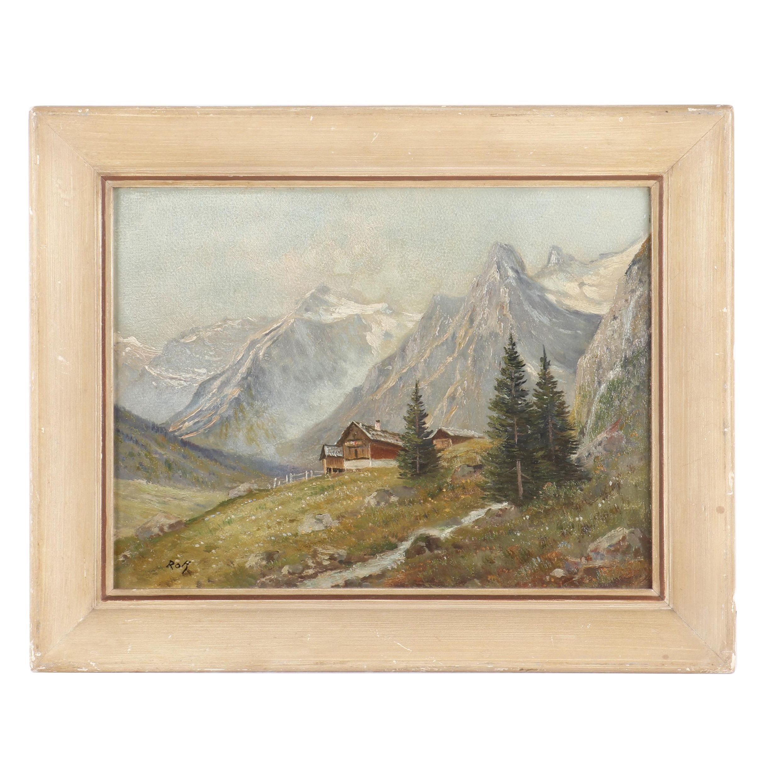20th Century Oil Painting of House in the Mountains
